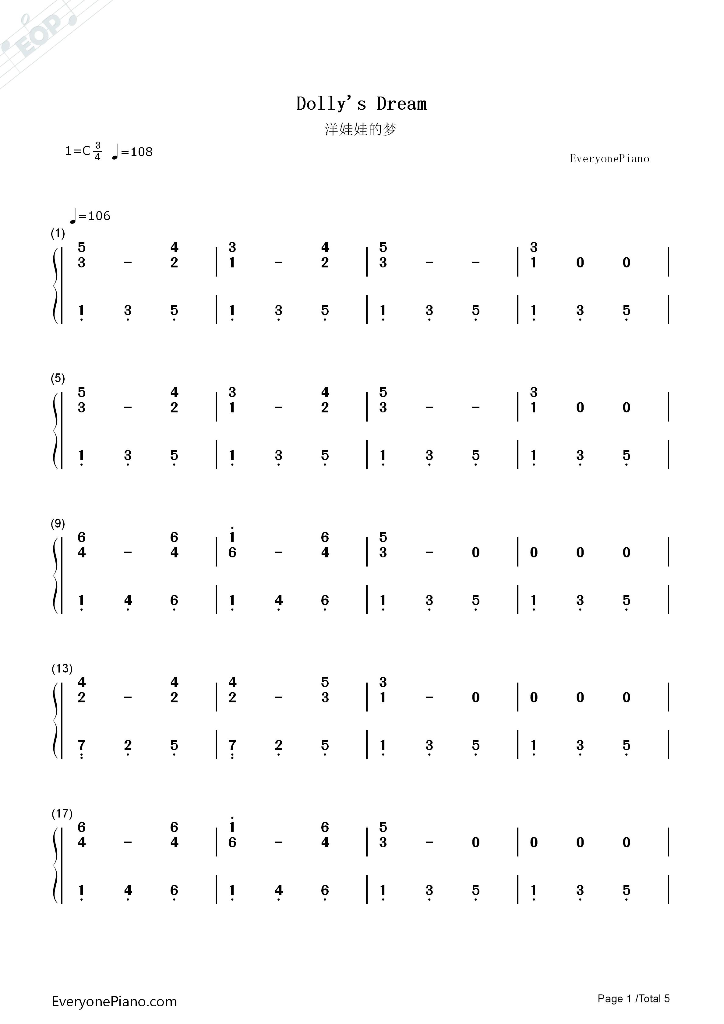 洋娃娃的梦-儿童歌曲双手简谱预览1