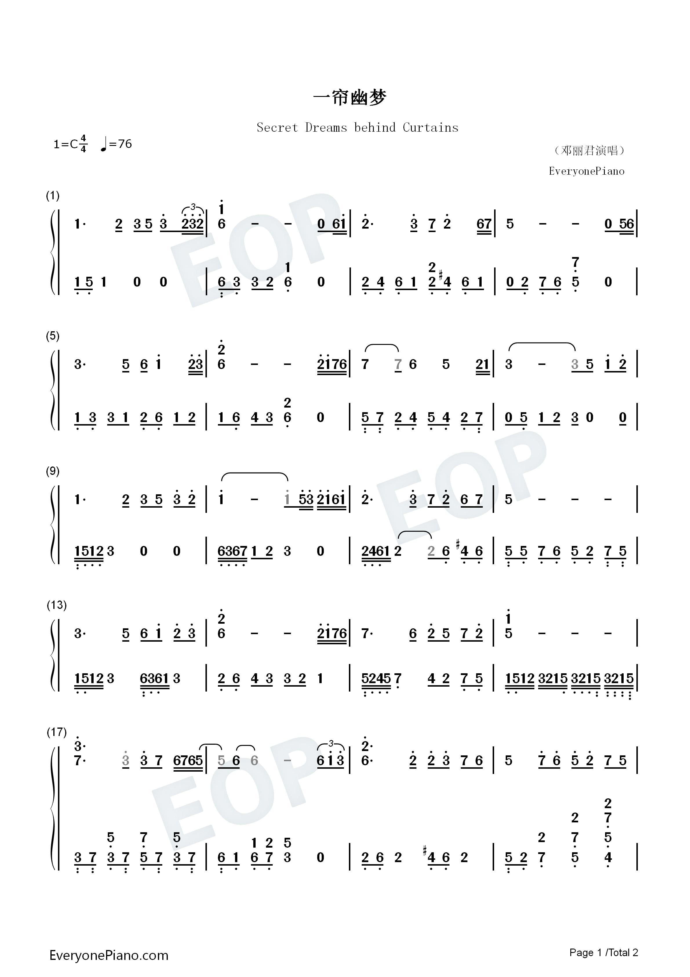 一帘幽梦-邓丽君演唱版双手简谱预览1