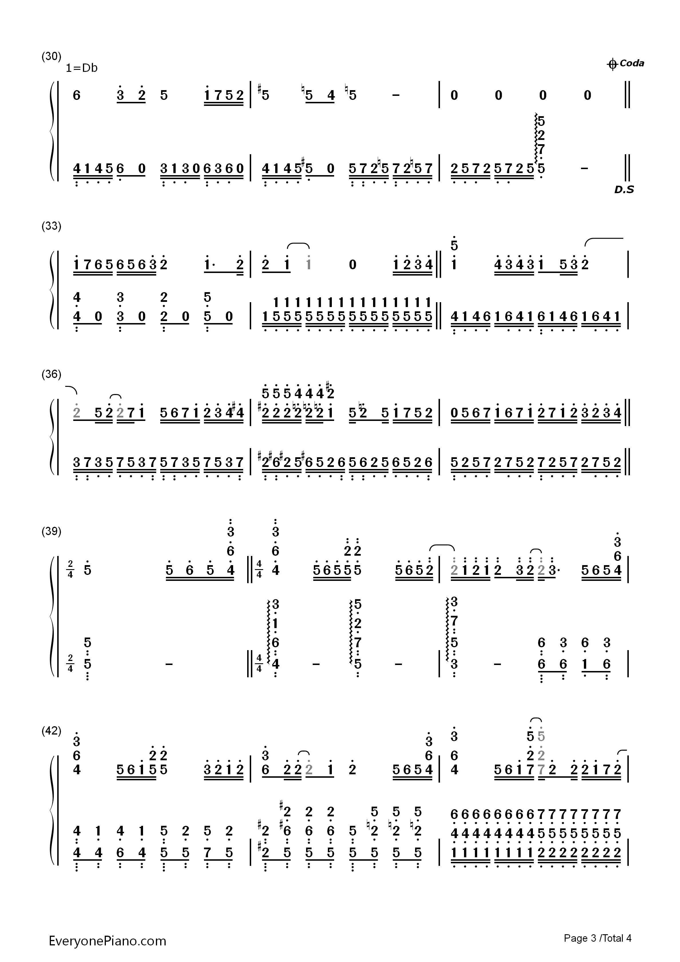 不完美小孩-tfboys双手简谱预览3