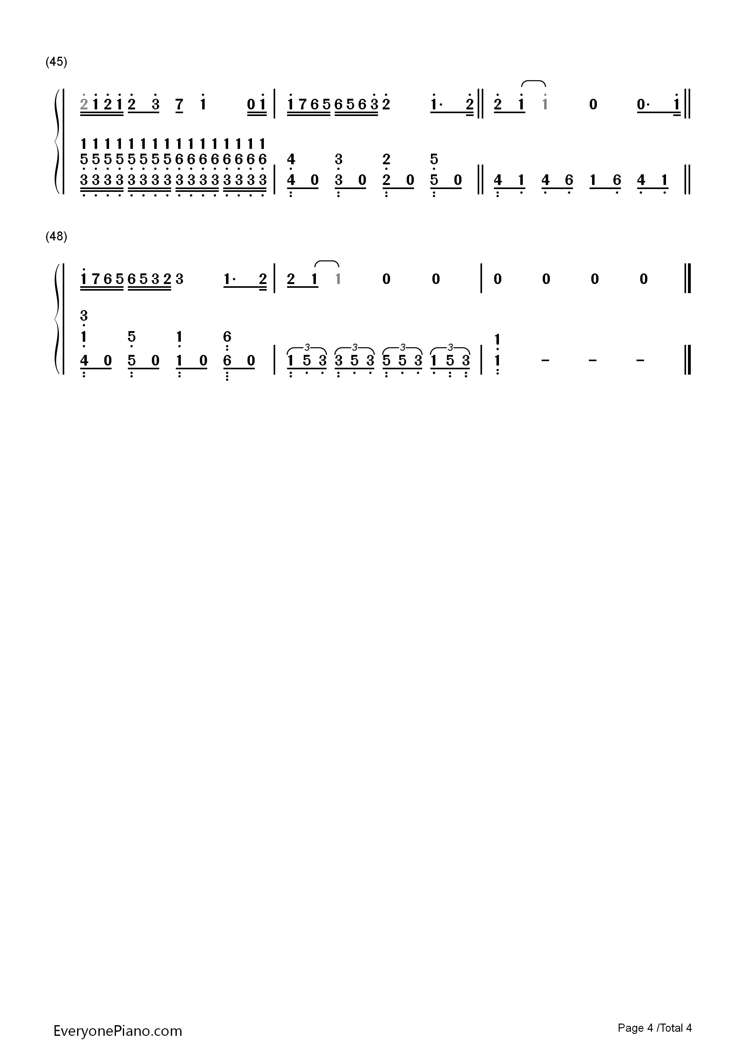 钢琴曲谱 流行 不完美小孩-tfboys 不完美小孩-tfboys双手简谱预览4