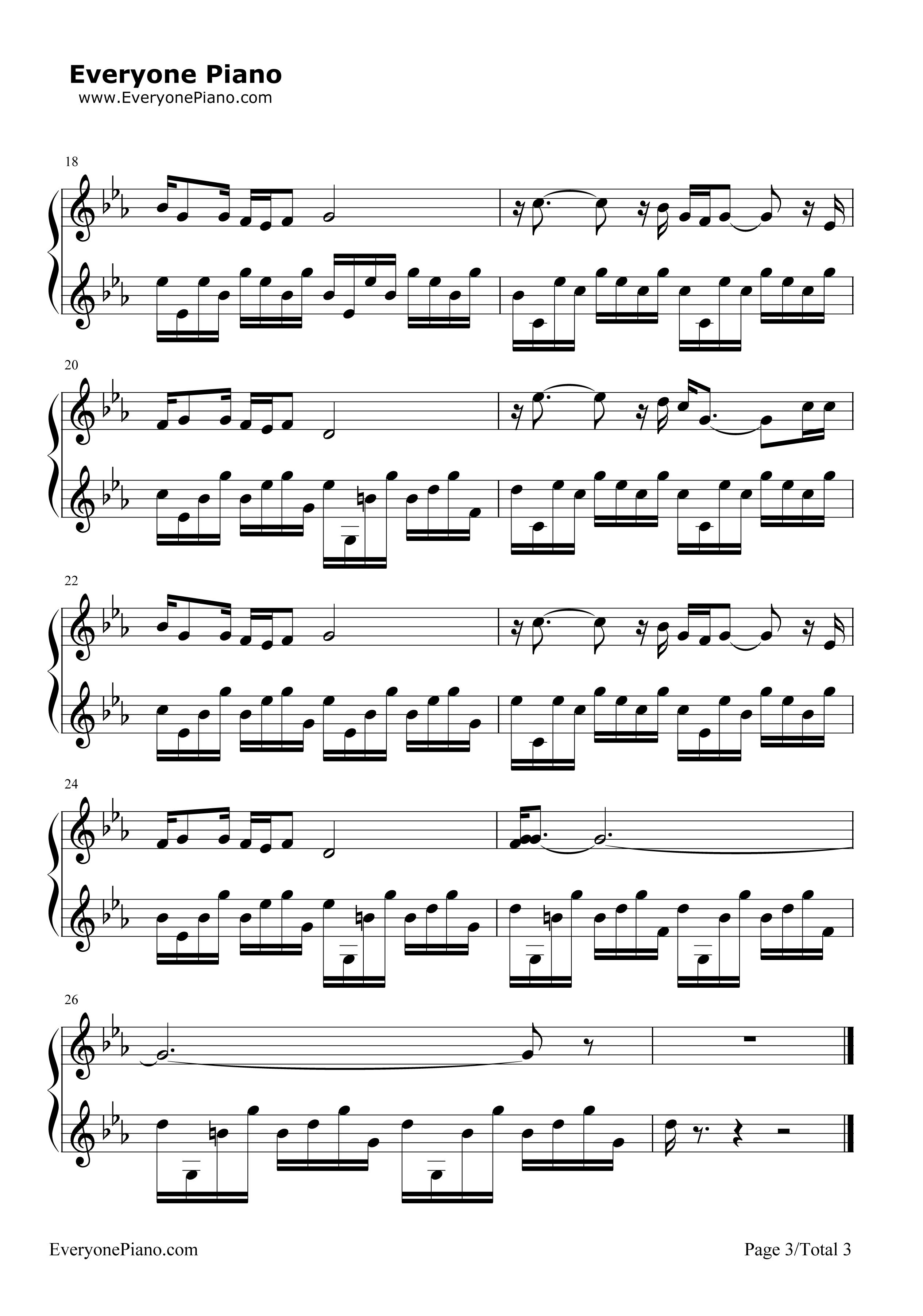 你的样子-阿郎的故事片尾曲五线谱预览3-钢琴谱(,双手图片