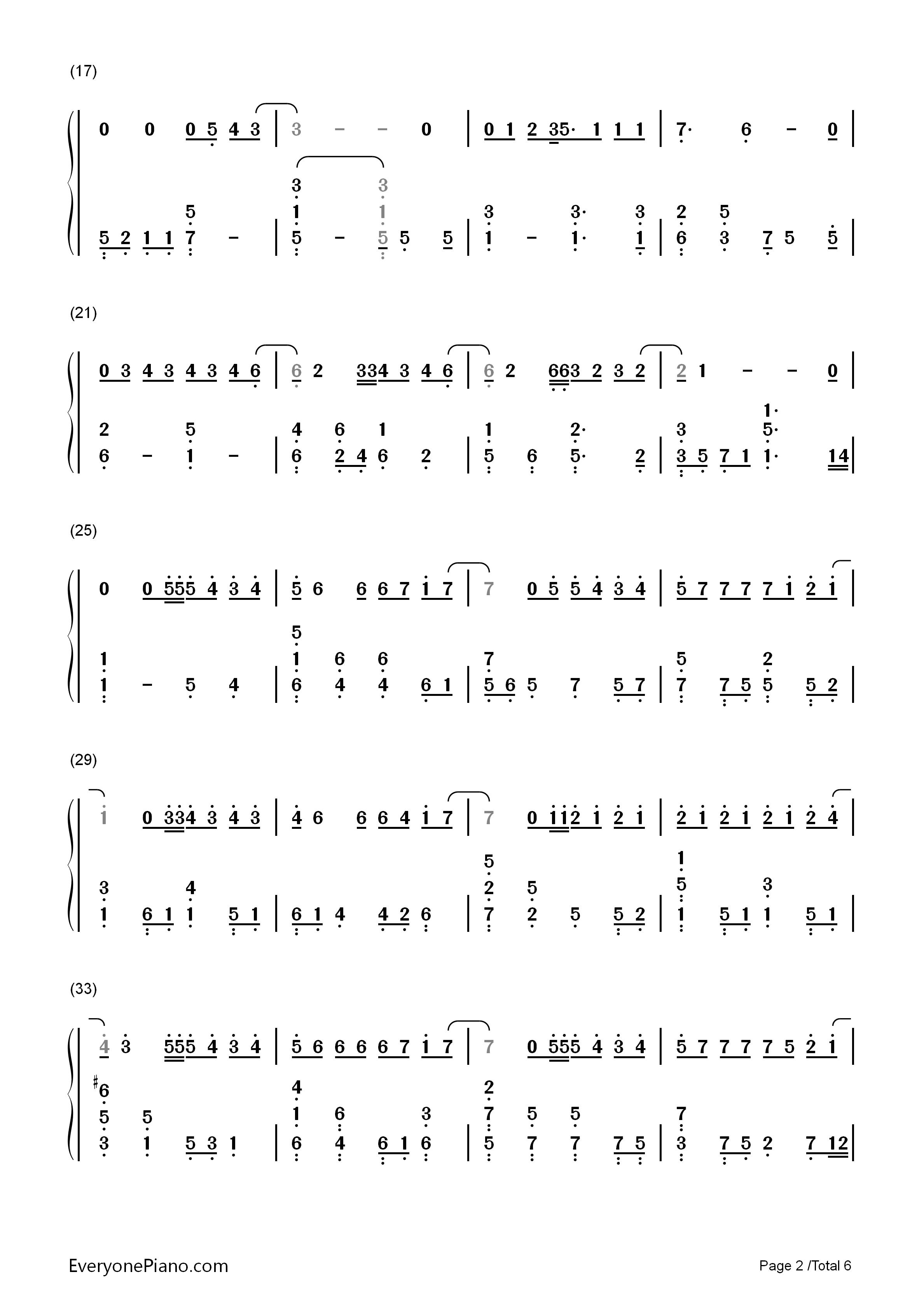 钢琴曲谱 流行 演员-薛之谦 演员-薛之谦双手简谱预览2