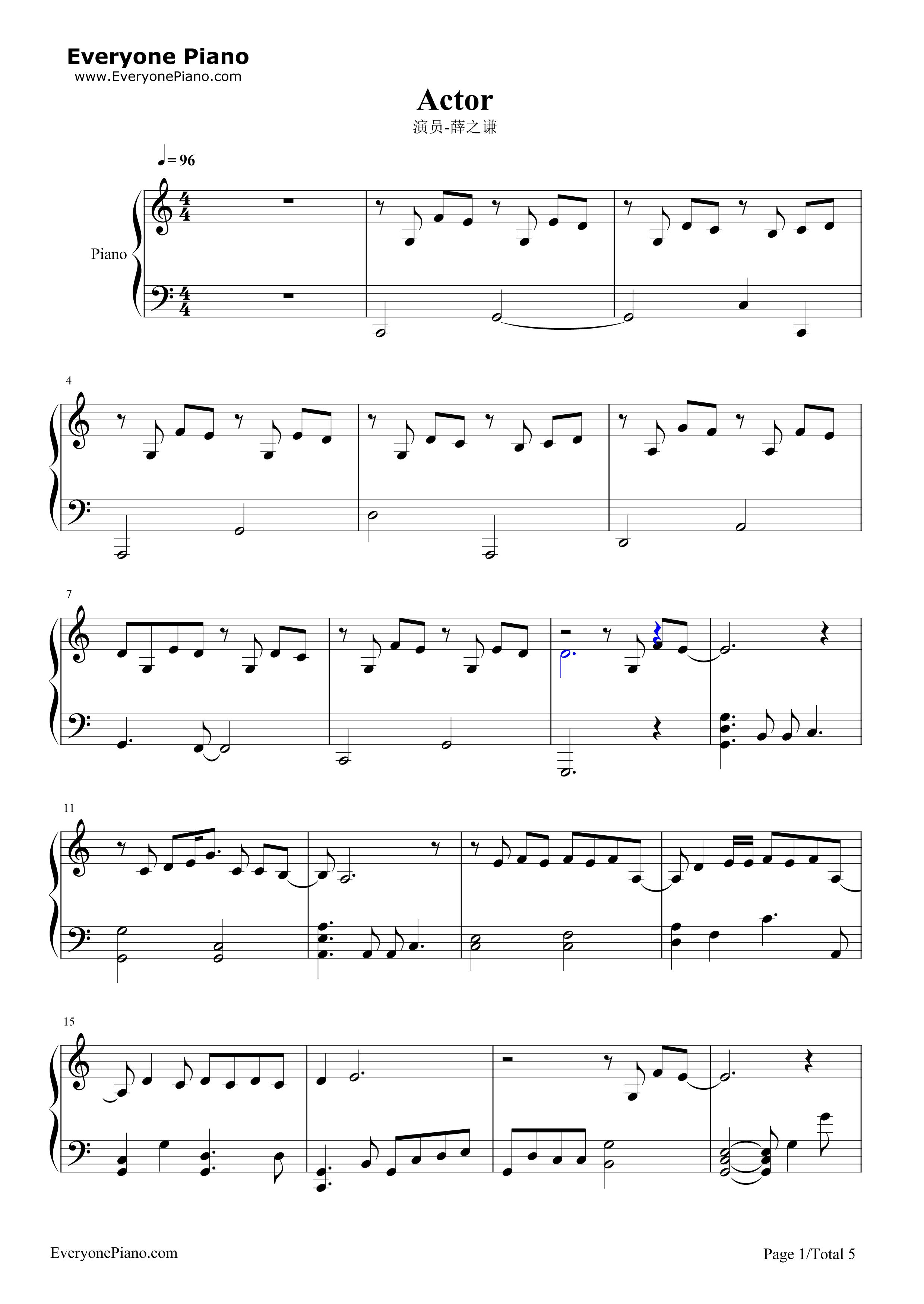 演员-薛之谦五线谱预览1-钢琴谱档(五线谱,双手简谱