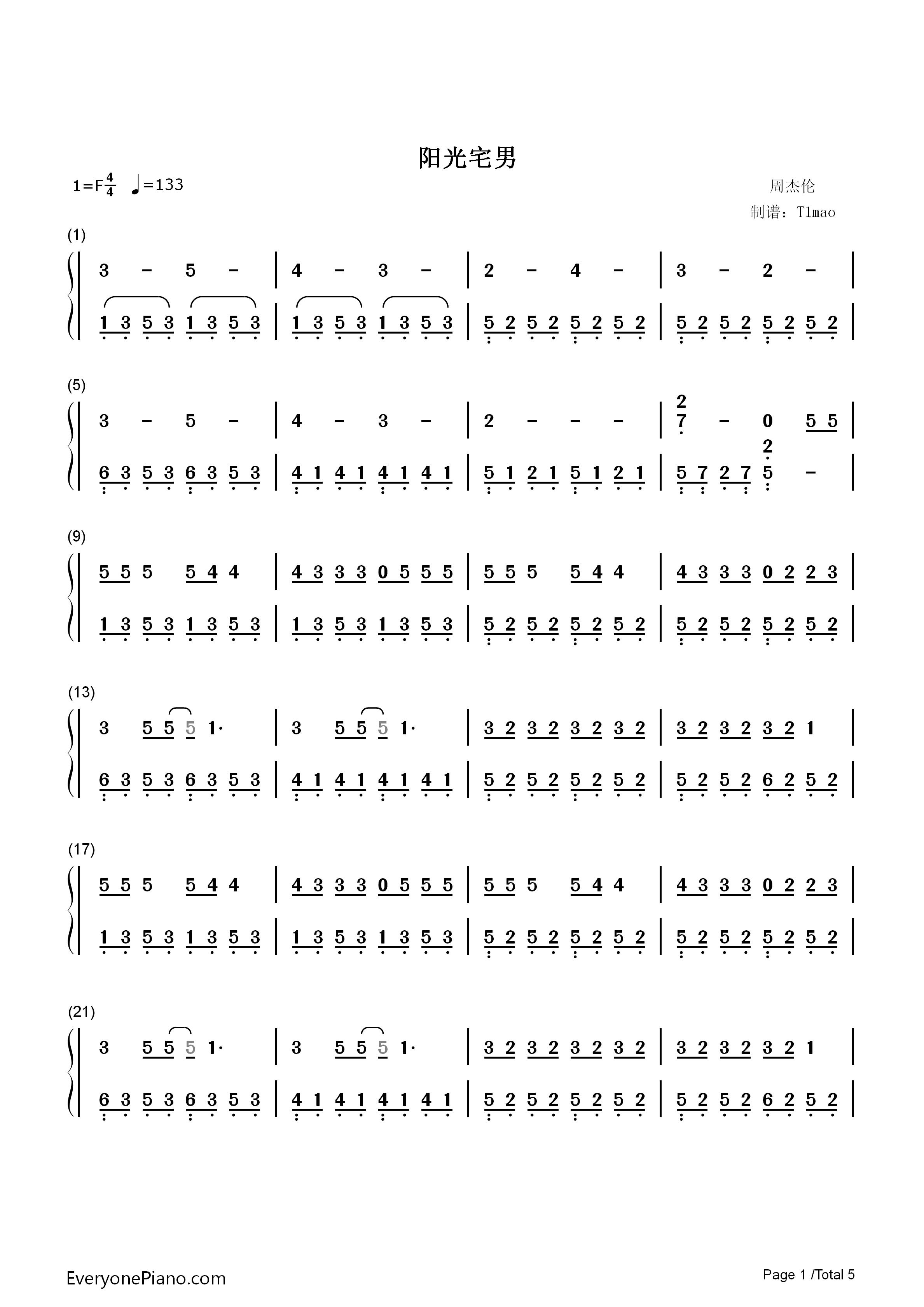 阳光宅男-周杰伦双手简谱预览1-钢琴谱档(五线谱,双手