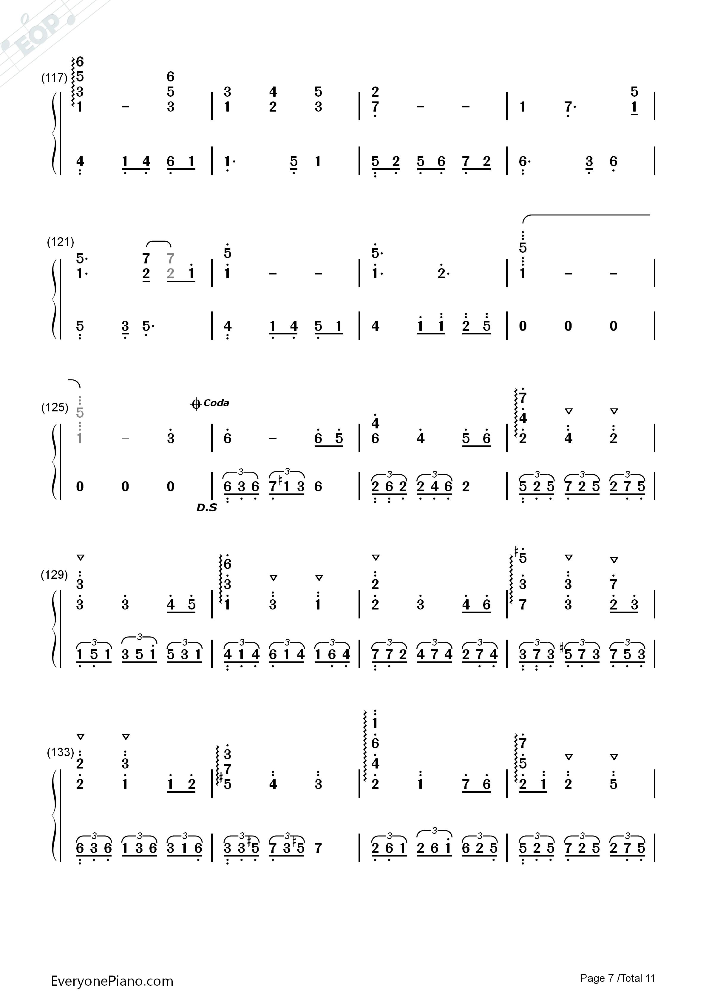 纯白-deemo游戏音乐双手简谱预览