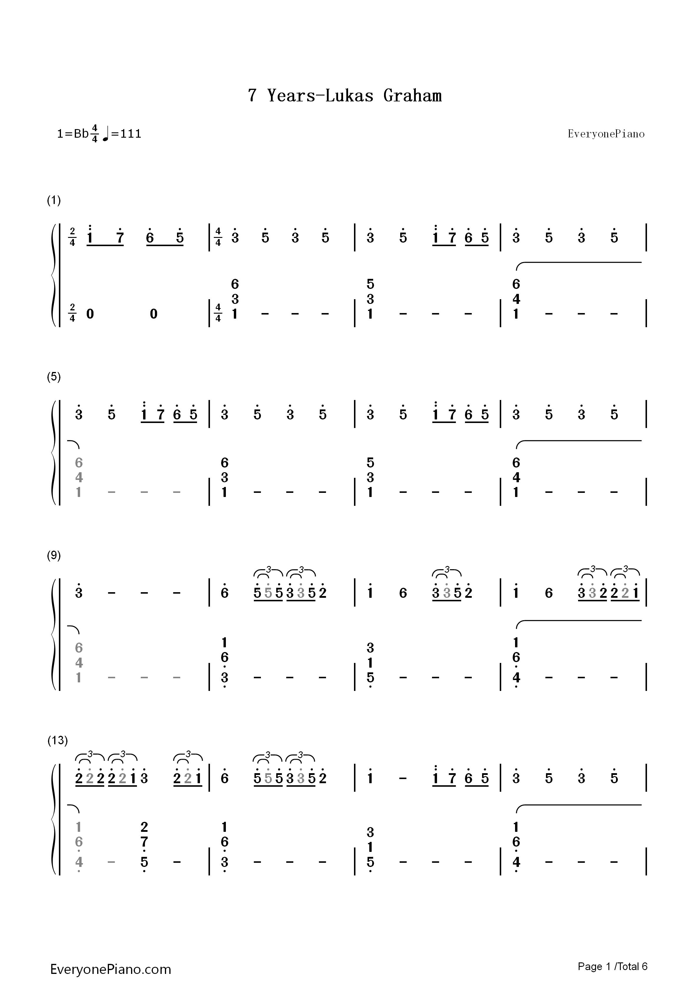 7 years-lukas graham双手简谱预览1-钢琴谱(五线谱,)