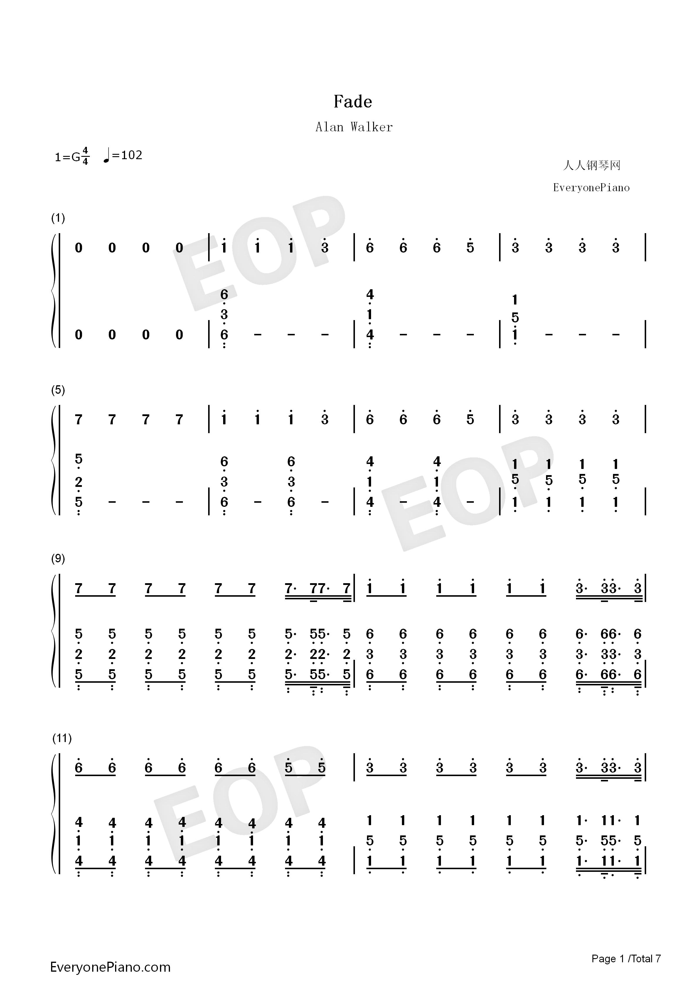 Fade-Alan Walker雙手簡譜預覽1-鋼琴譜檔(五線譜、雙手簡譜、數位譜、Midi、PDF)免費下載