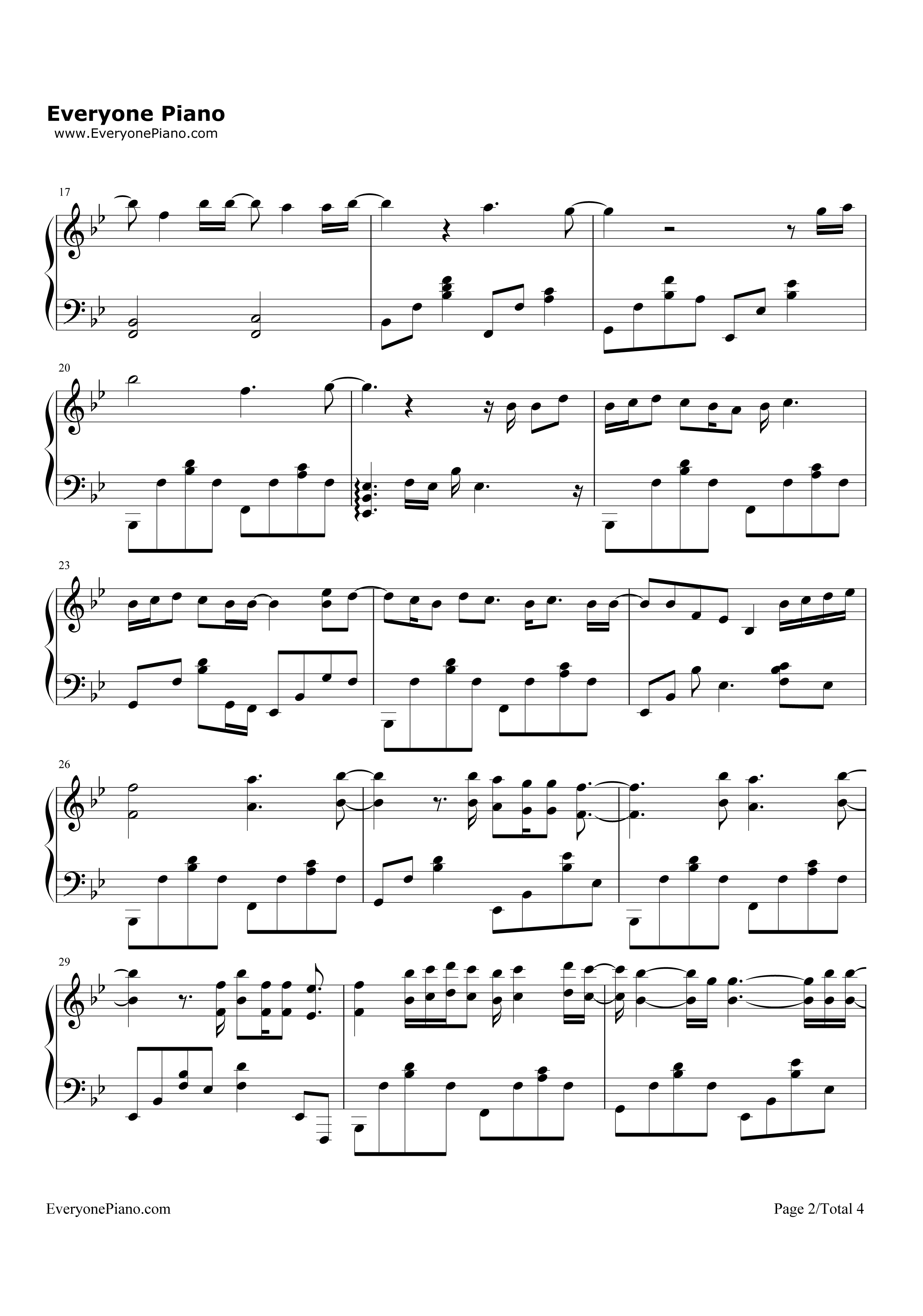 always-太阳的后裔ost五线谱预览2-钢琴谱