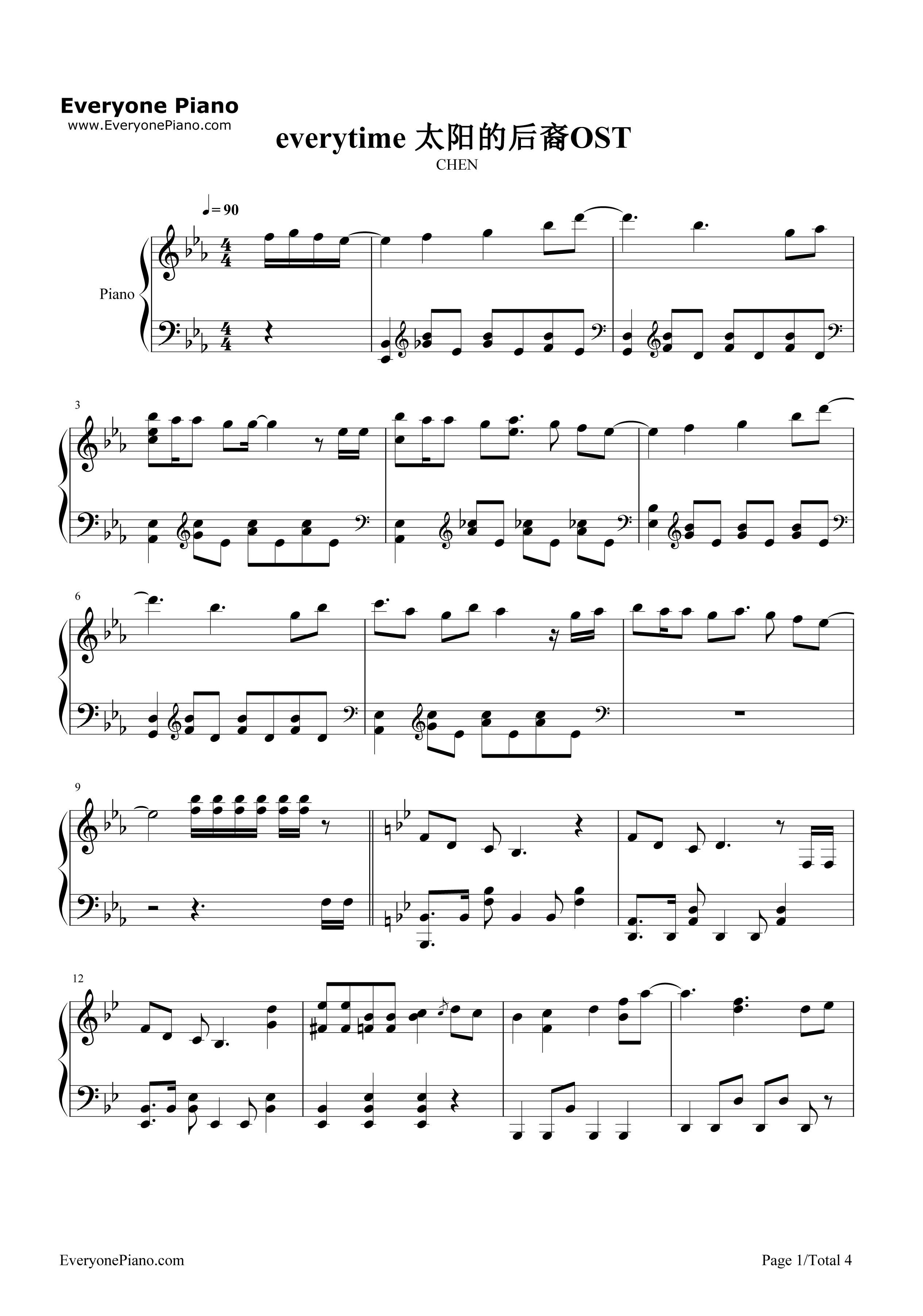 钢琴谱 time every