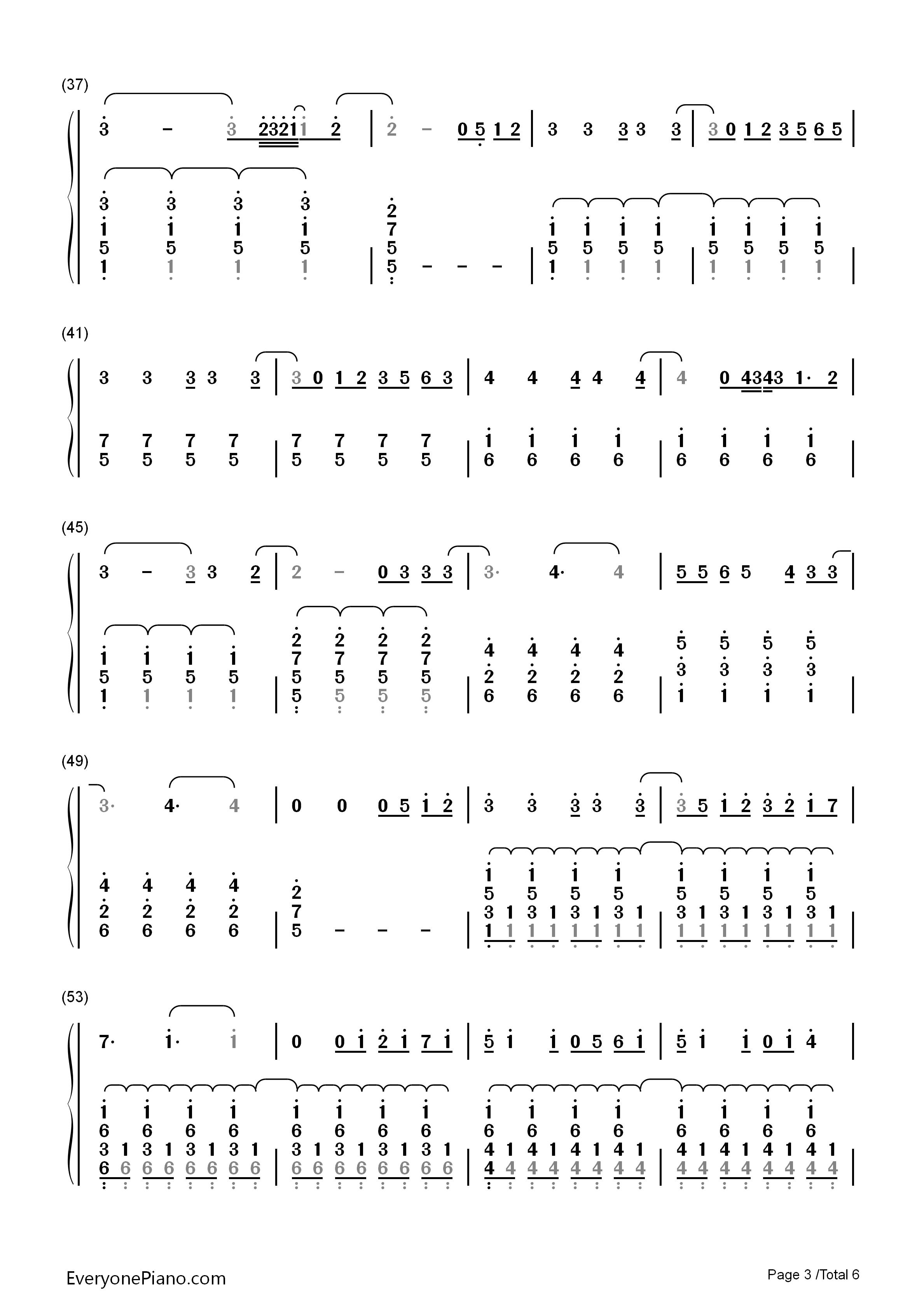 e Song Little Mix双手简谱预览3 钢琴谱档 五线谱 双手简谱 数位谱
