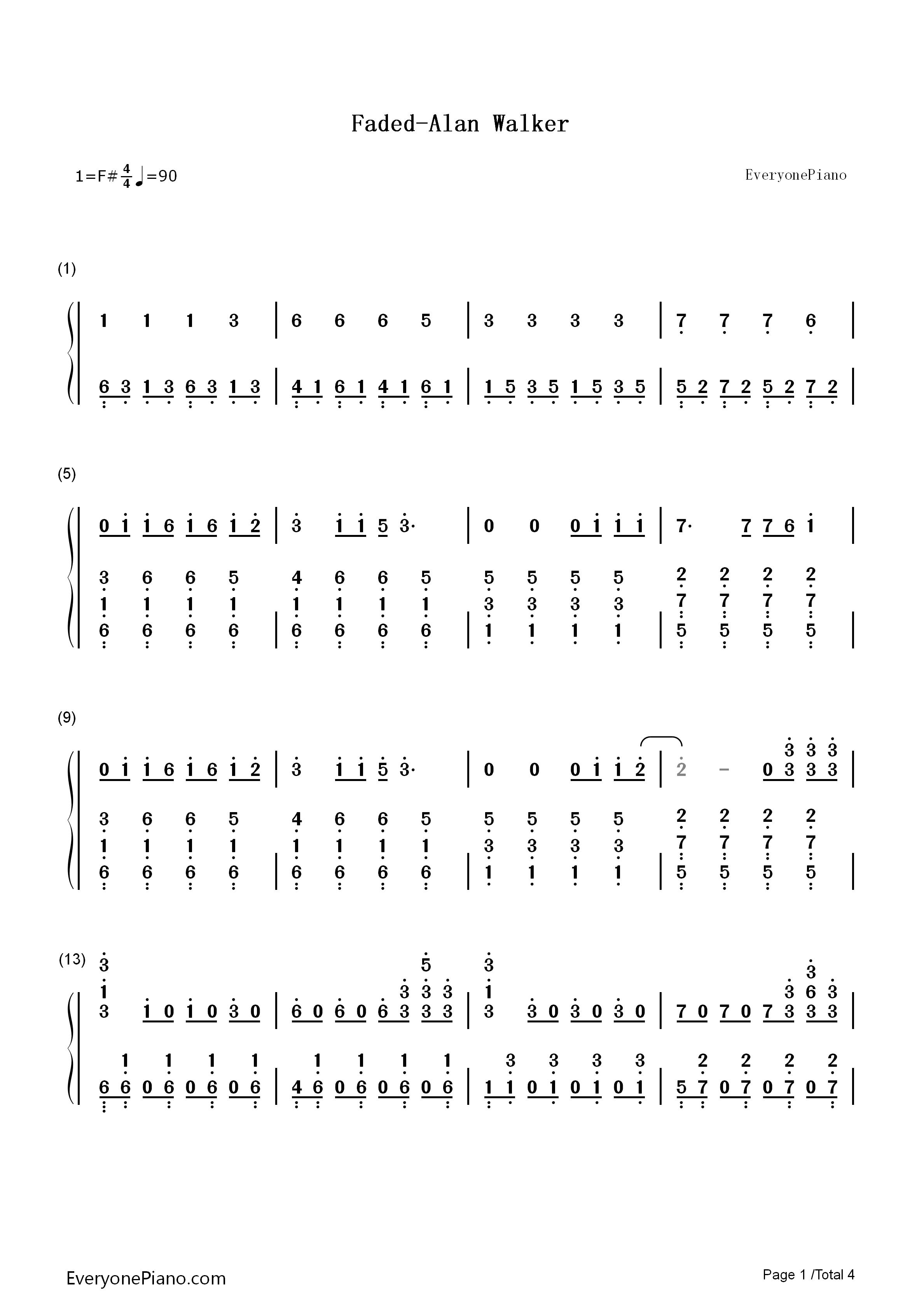 钢琴曲谱 流行 faded-alan walker faded-alan walker双手简谱预览1