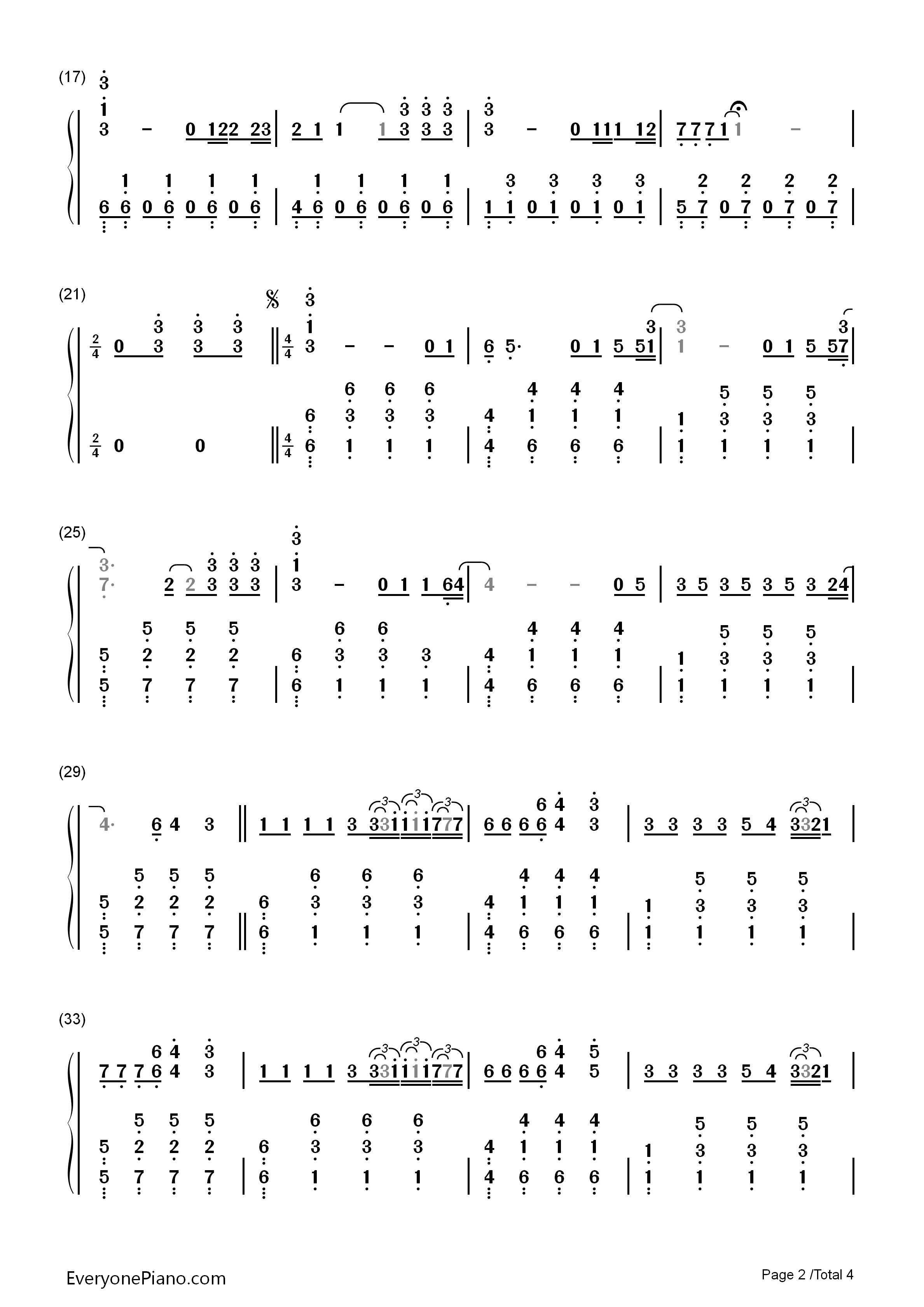 faded-alan walker三声部双手简谱预览2-钢琴谱(,双手