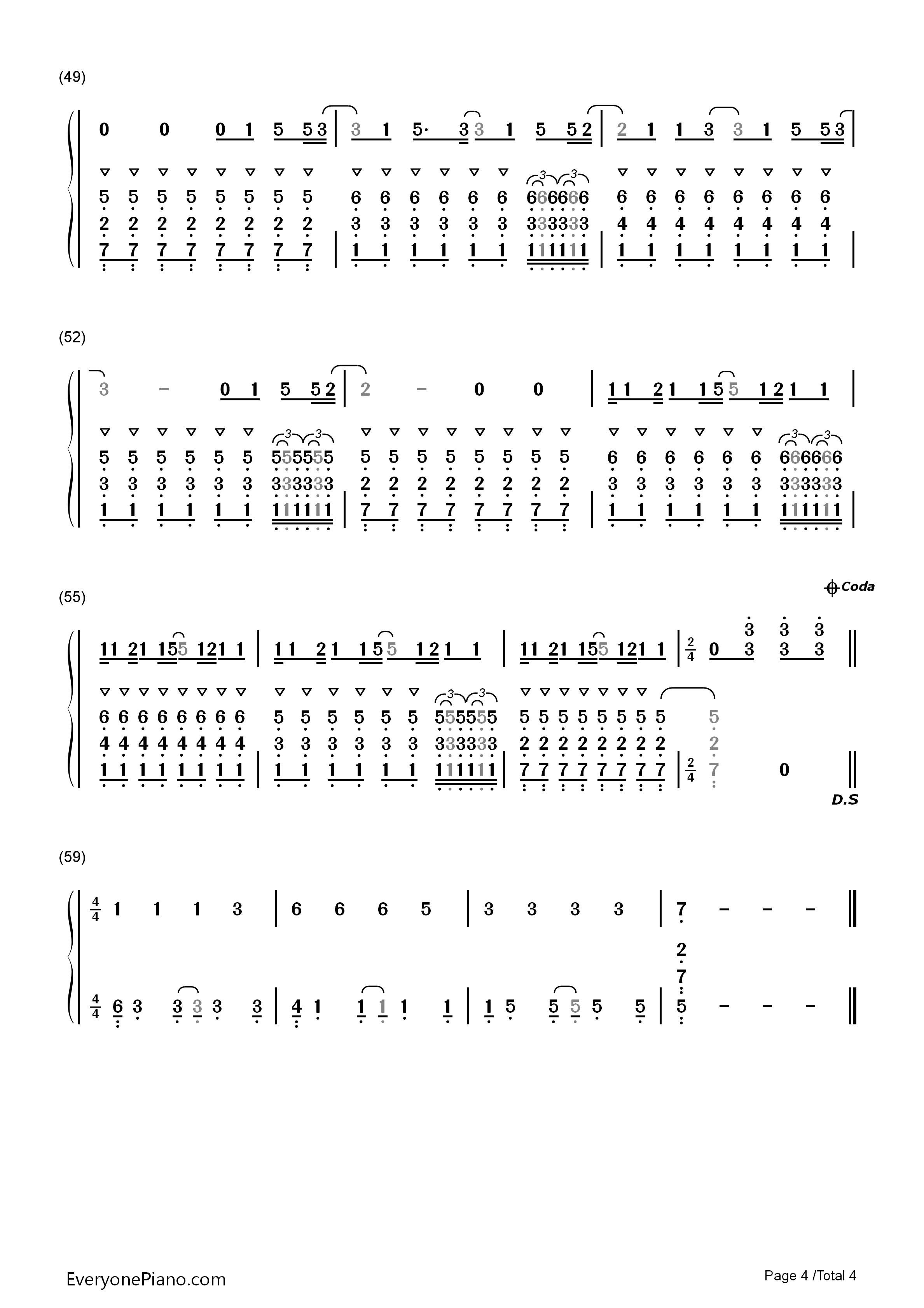 钢琴曲谱 流行 faded-alan walker faded-alan walker双手简谱预览4