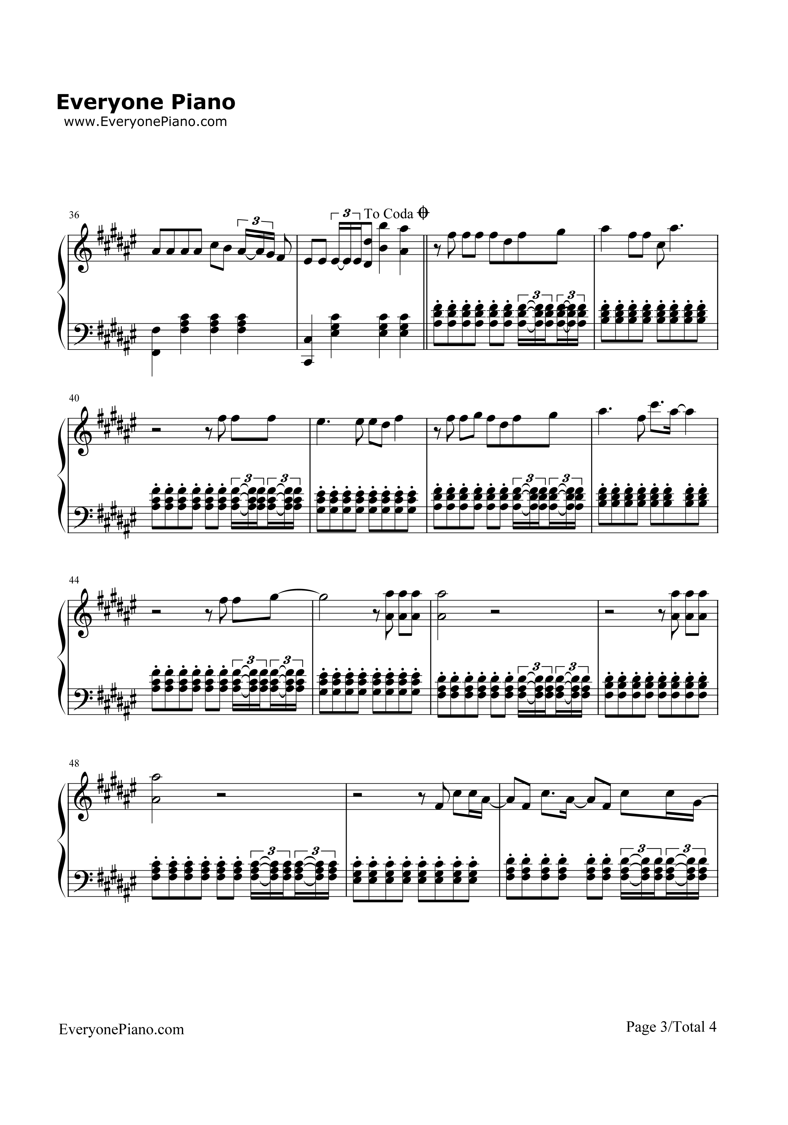 钢琴曲谱 流行 faded-alan walker三声部 faded-alan walker三声部