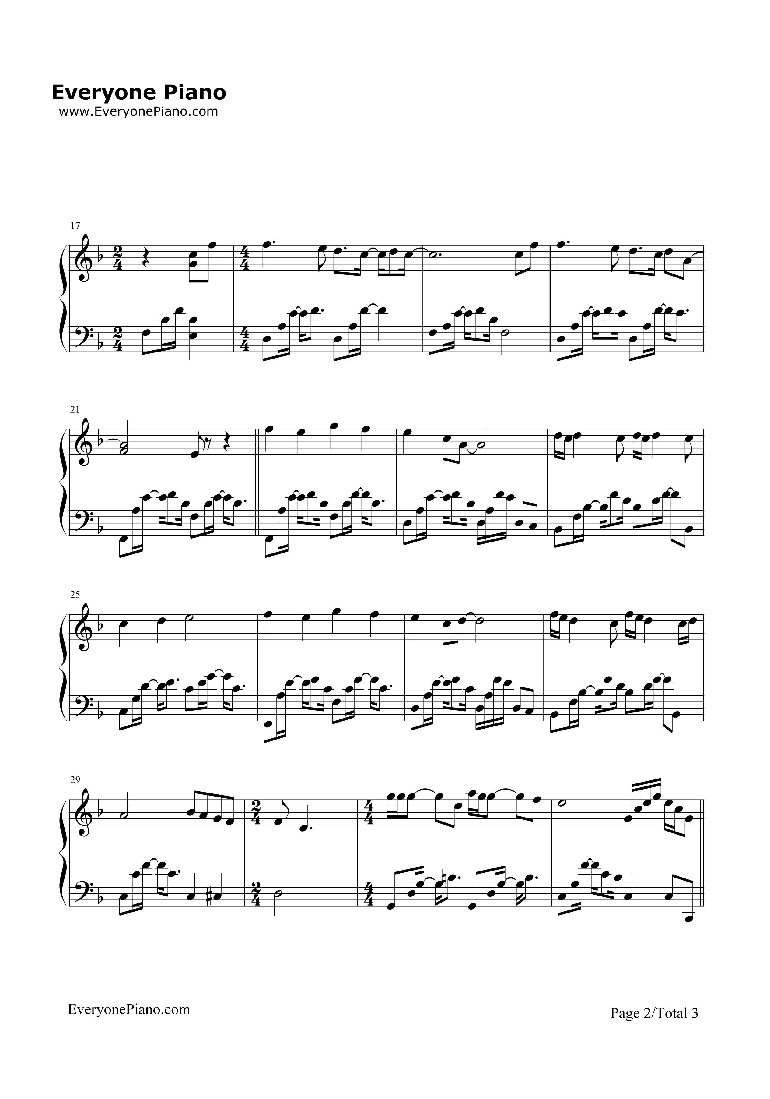 等我遇见你五线谱预览2-钢琴谱(五线谱,双手简谱)免费