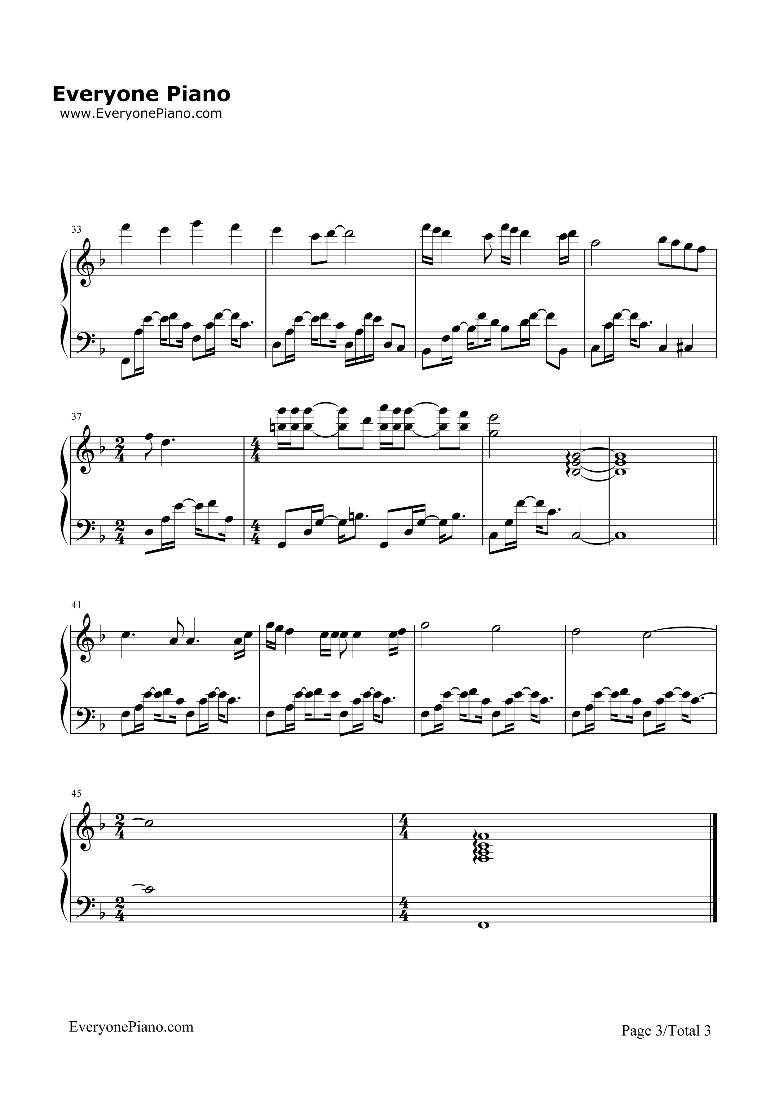 等我遇见你五线谱预览3-钢琴谱(五线谱,双手简谱)免费