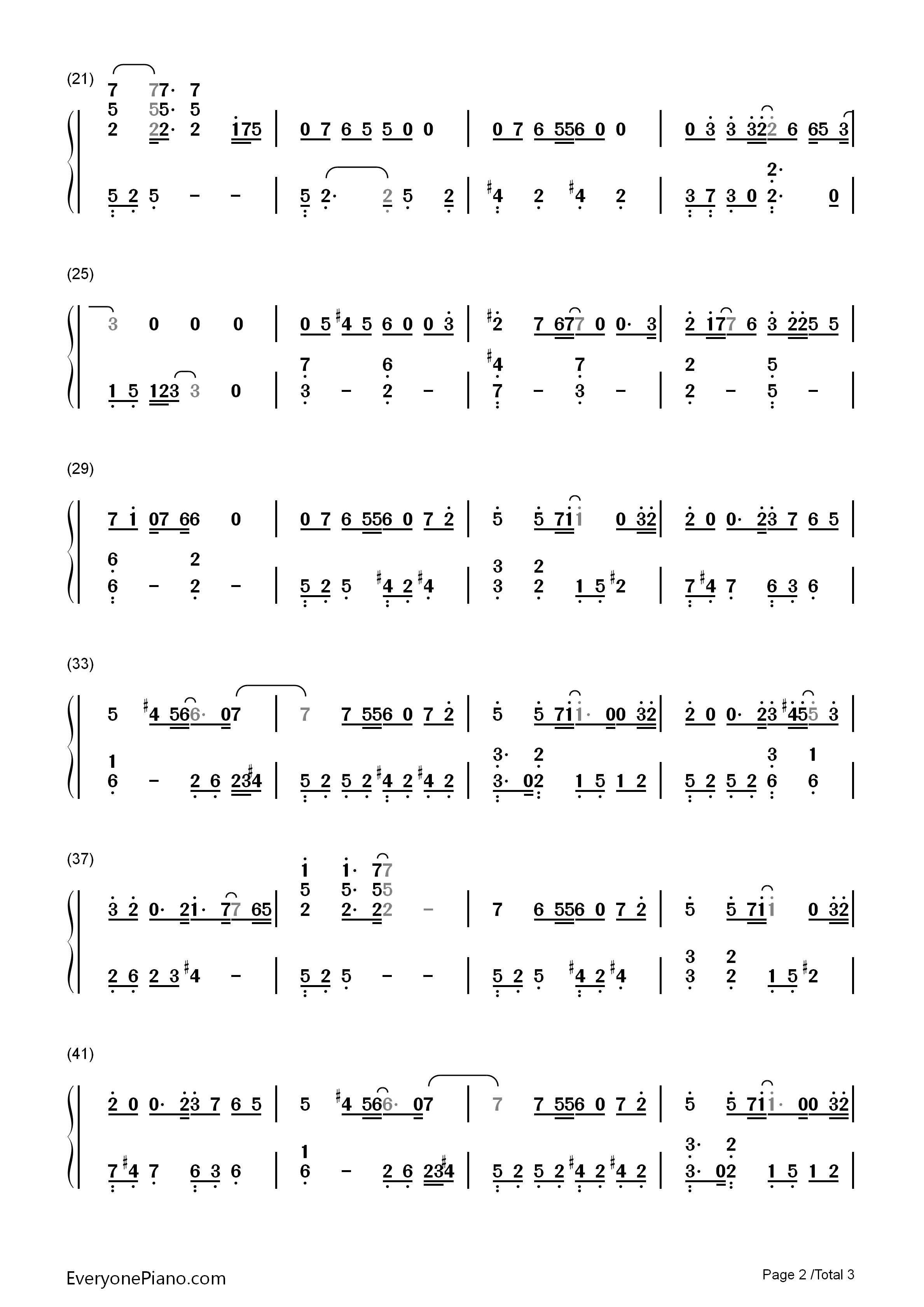陪你左右-欢乐颂插曲双手简谱预览2-钢琴谱(五线谱,)