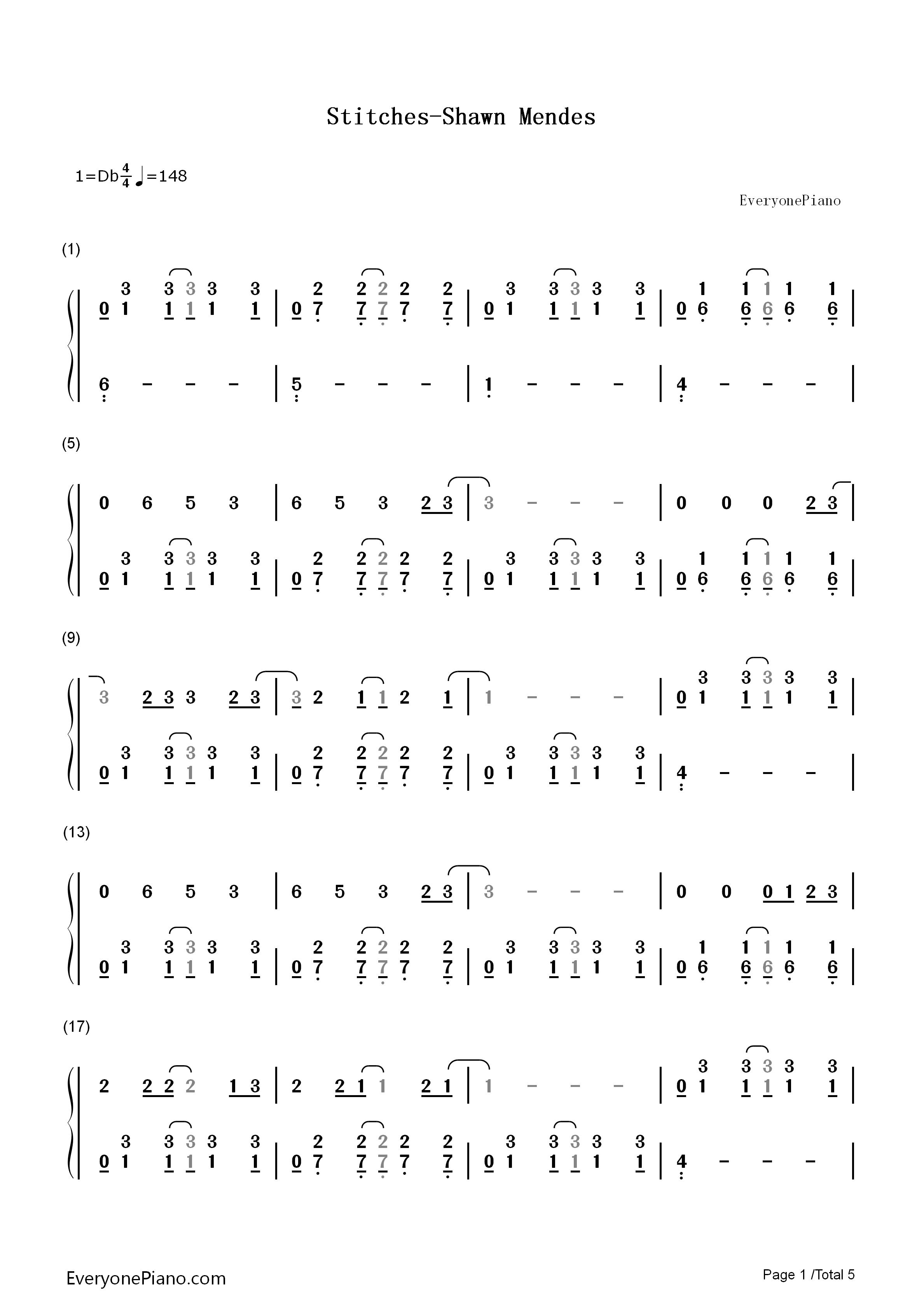 endes双手简谱预览1