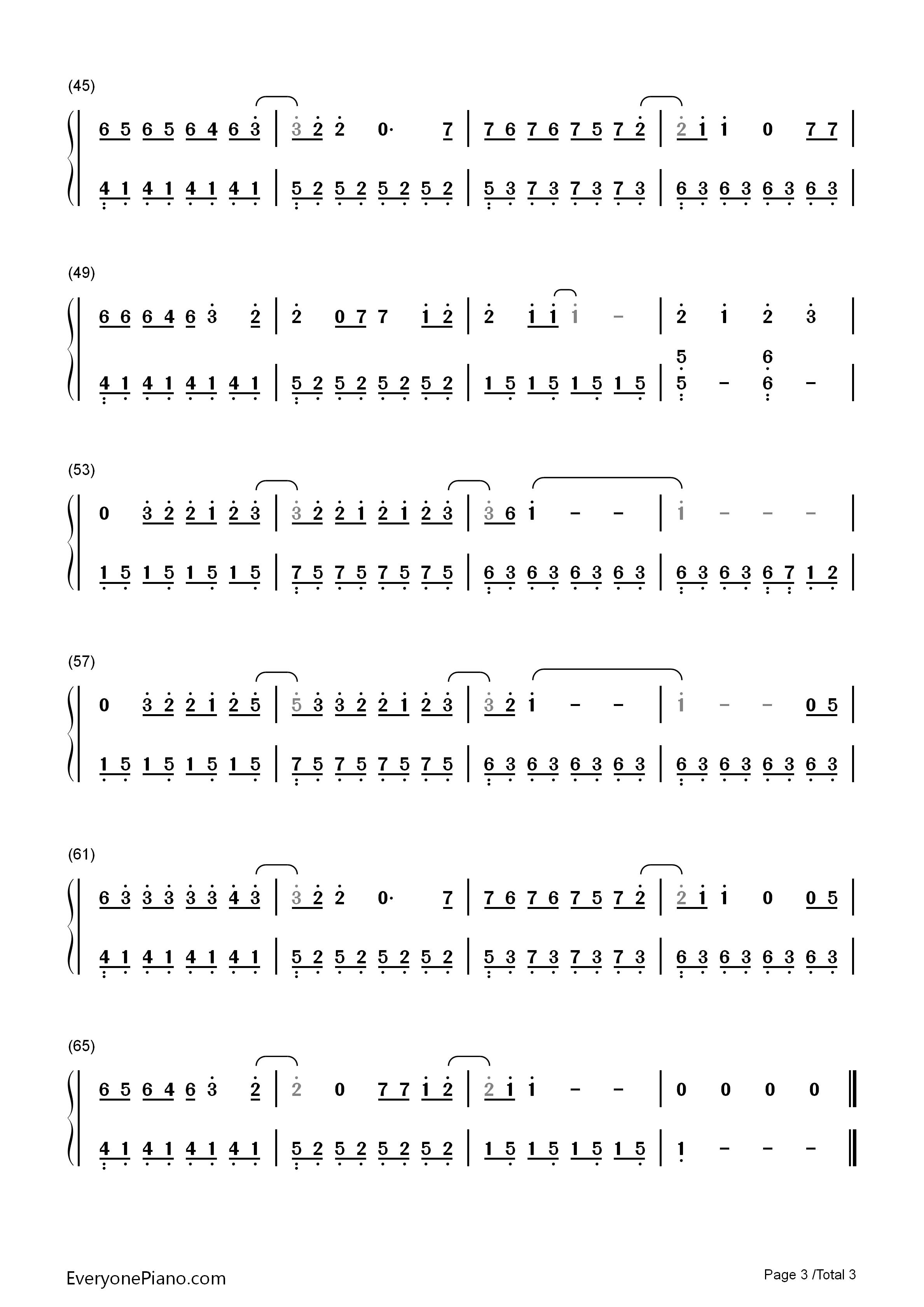 绅士-薛之谦双手简谱预览3-钢琴谱(五线谱,双手简谱)