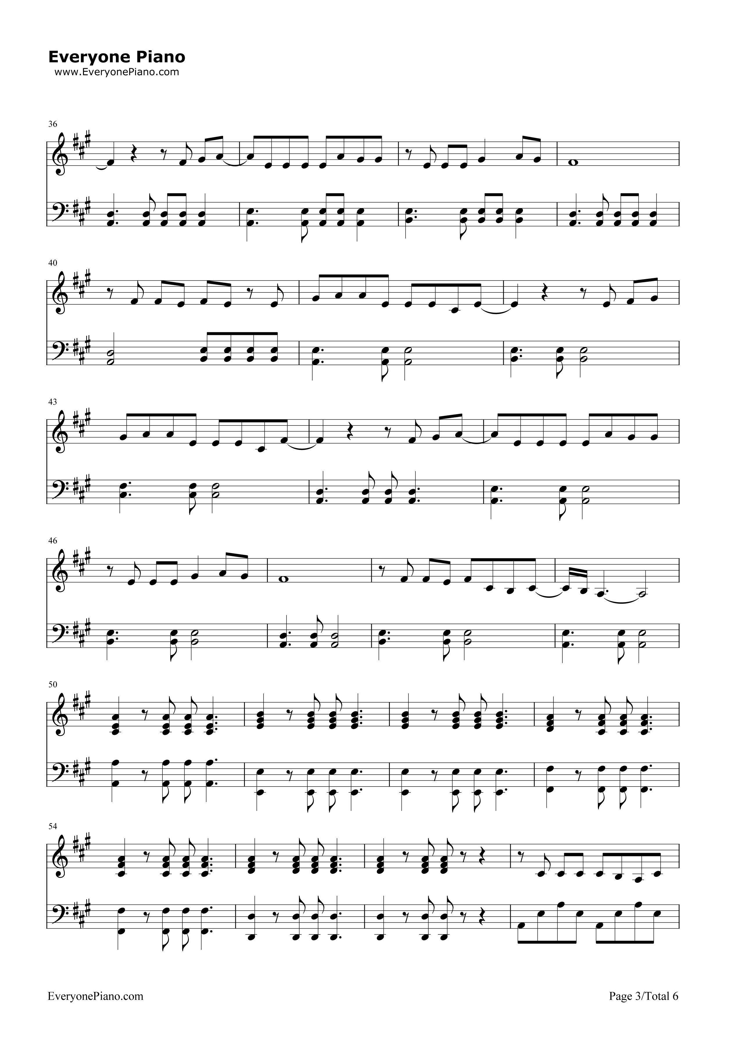 欢乐颂-欢乐颂主题曲五线谱预览3-钢琴谱(五线谱,双手