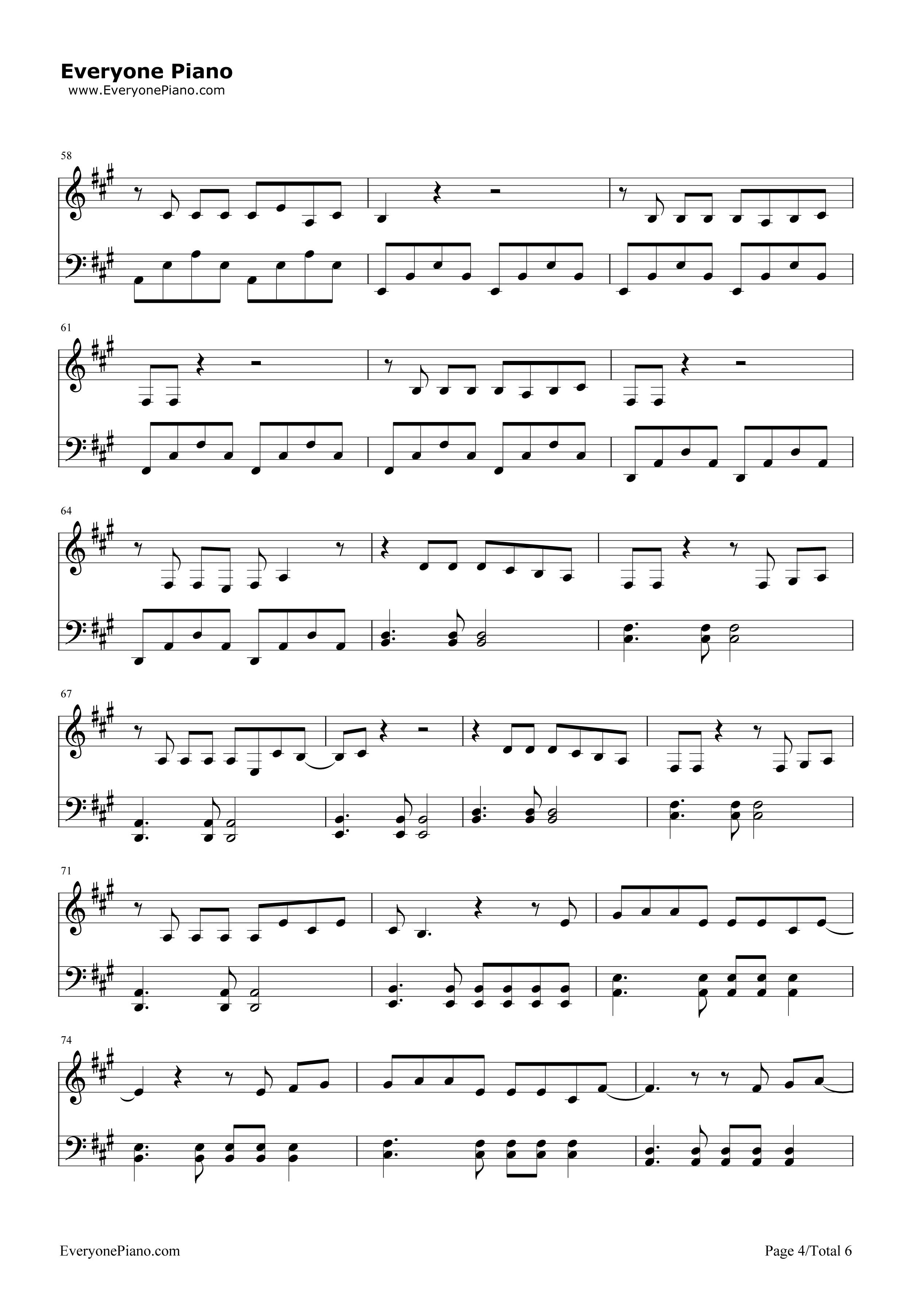 欢乐颂-欢乐颂主题曲五线谱预览4-钢琴谱(五线谱,双手