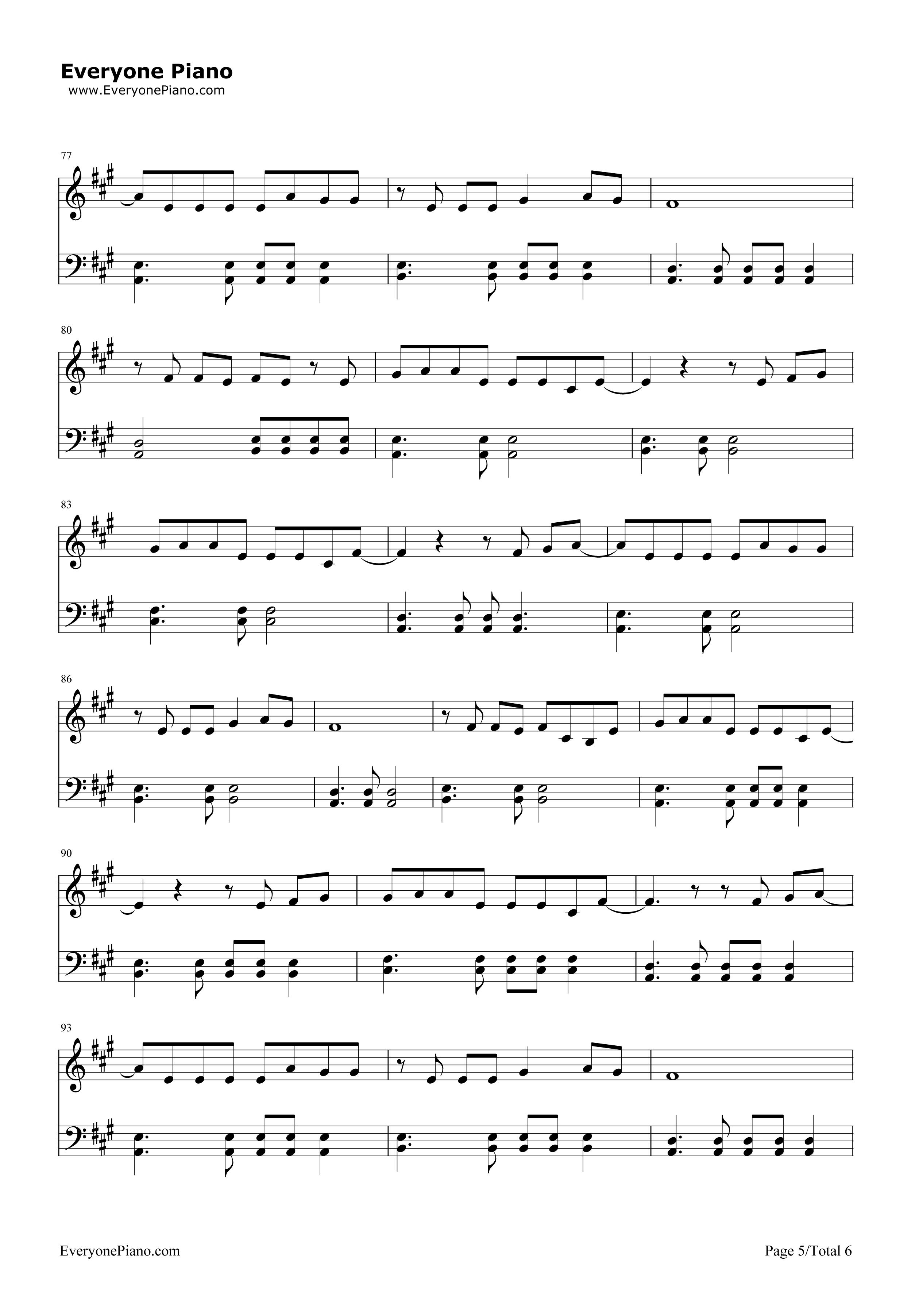 欢乐颂-欢乐颂主题曲五线谱预览5-钢琴谱(五线谱,双手