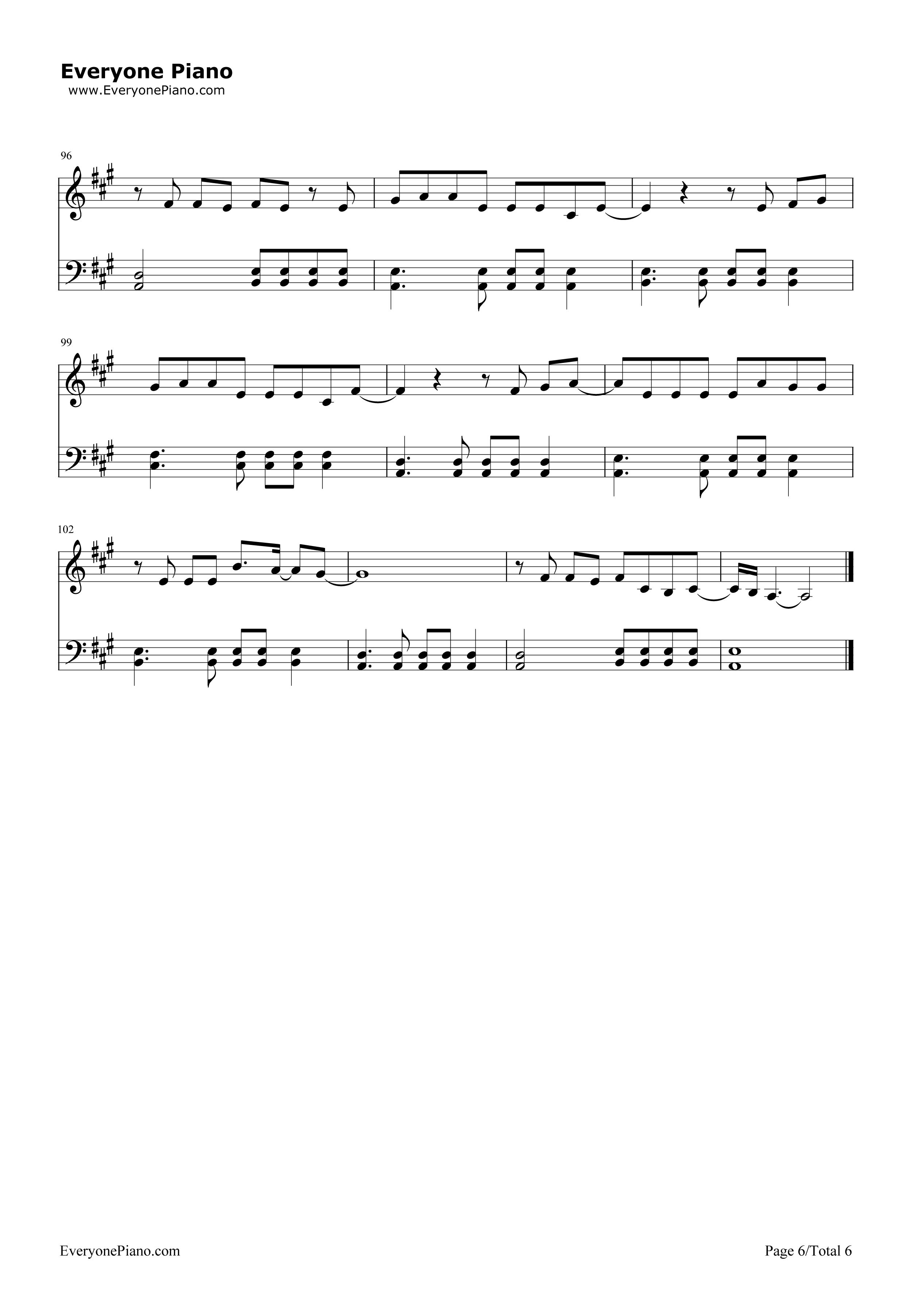 欢乐颂-欢乐颂主题曲五线谱预览6-钢琴谱(五线谱,双手