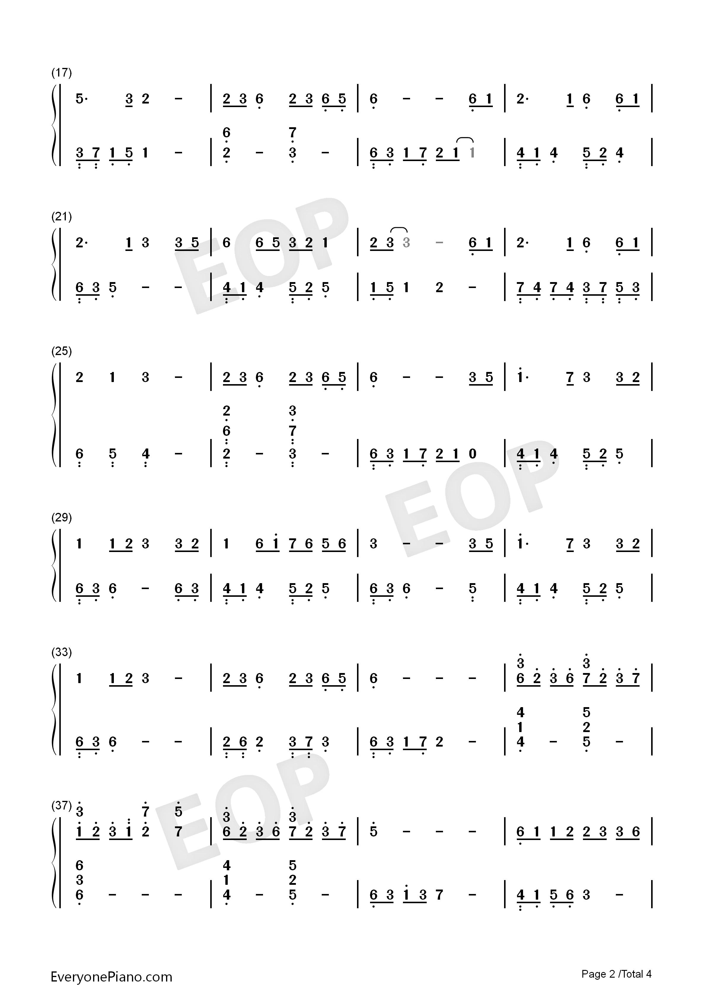 大鱼-周深双手简谱预览2-钢琴谱档(五线谱,双手简谱图片