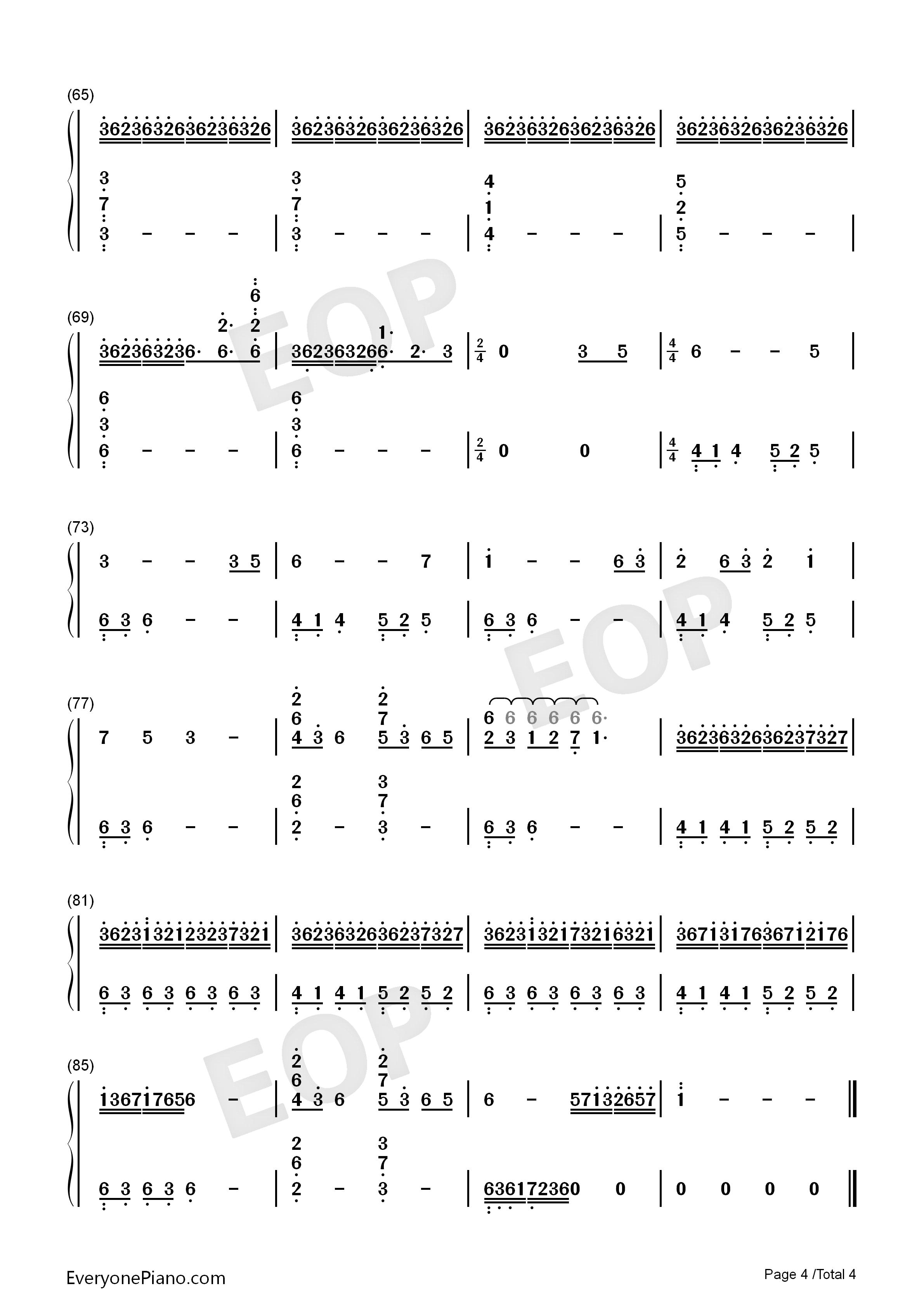 大鱼-周深双手简谱预览4-钢琴谱(五线谱,双手简谱)图片