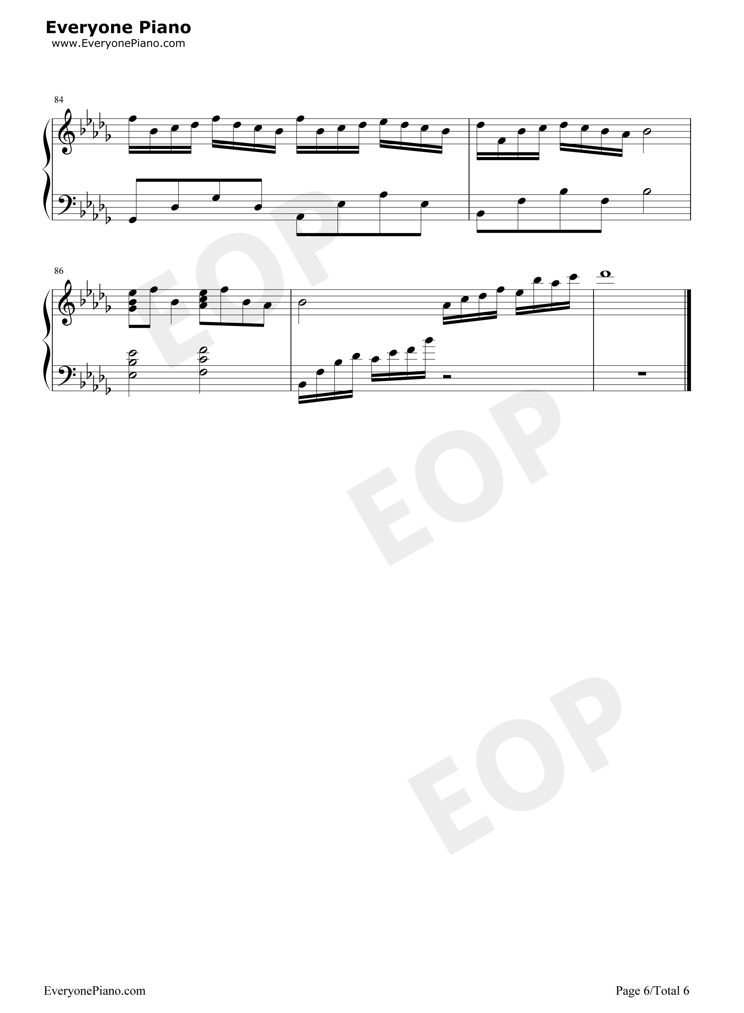 大鱼-周深五线谱预览6-钢琴谱(五线谱,双手简谱)免费图片