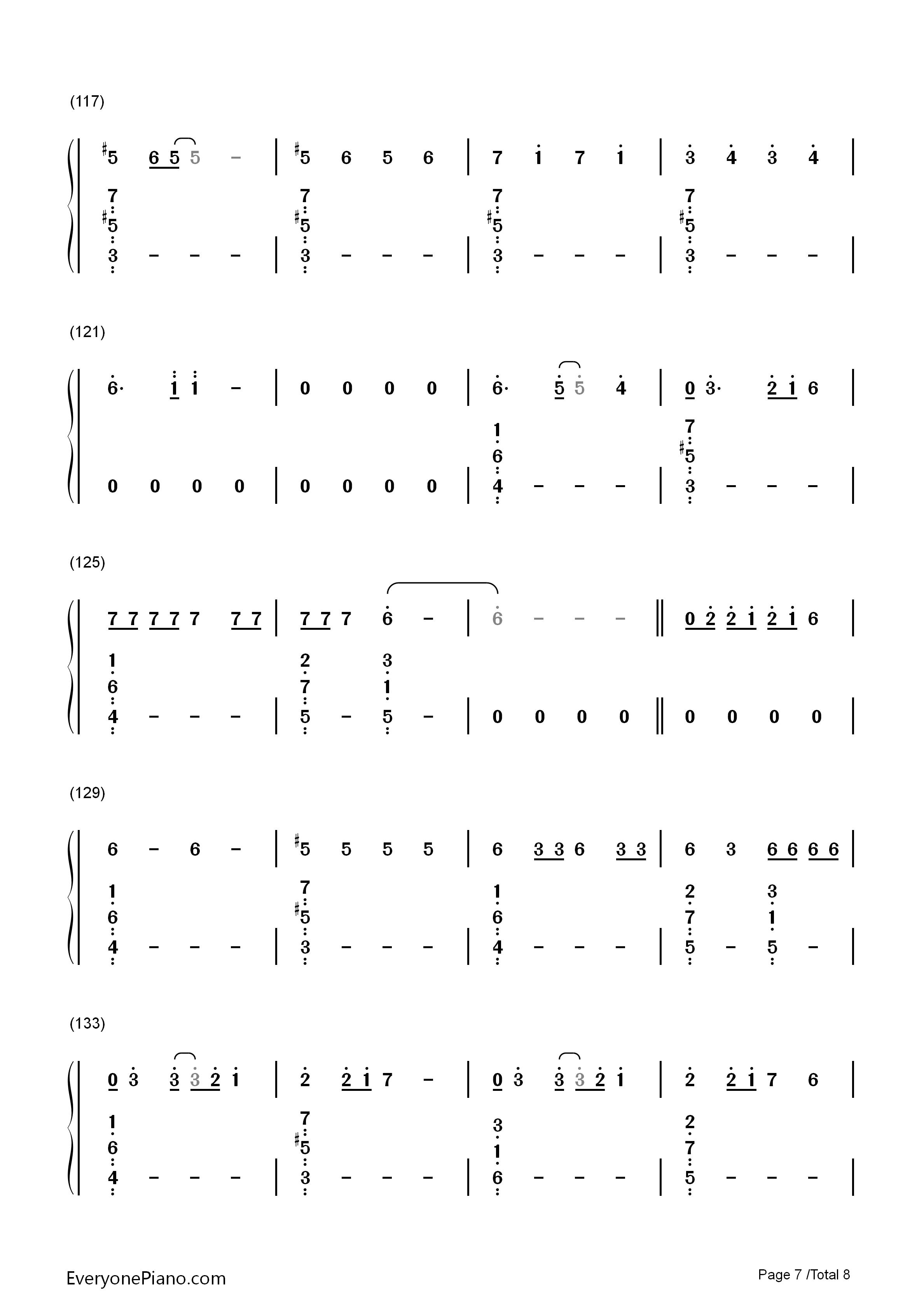 ainor双手简谱预览7 钢琴谱档 五线谱 双手简谱 数位谱 Midi PDF 免