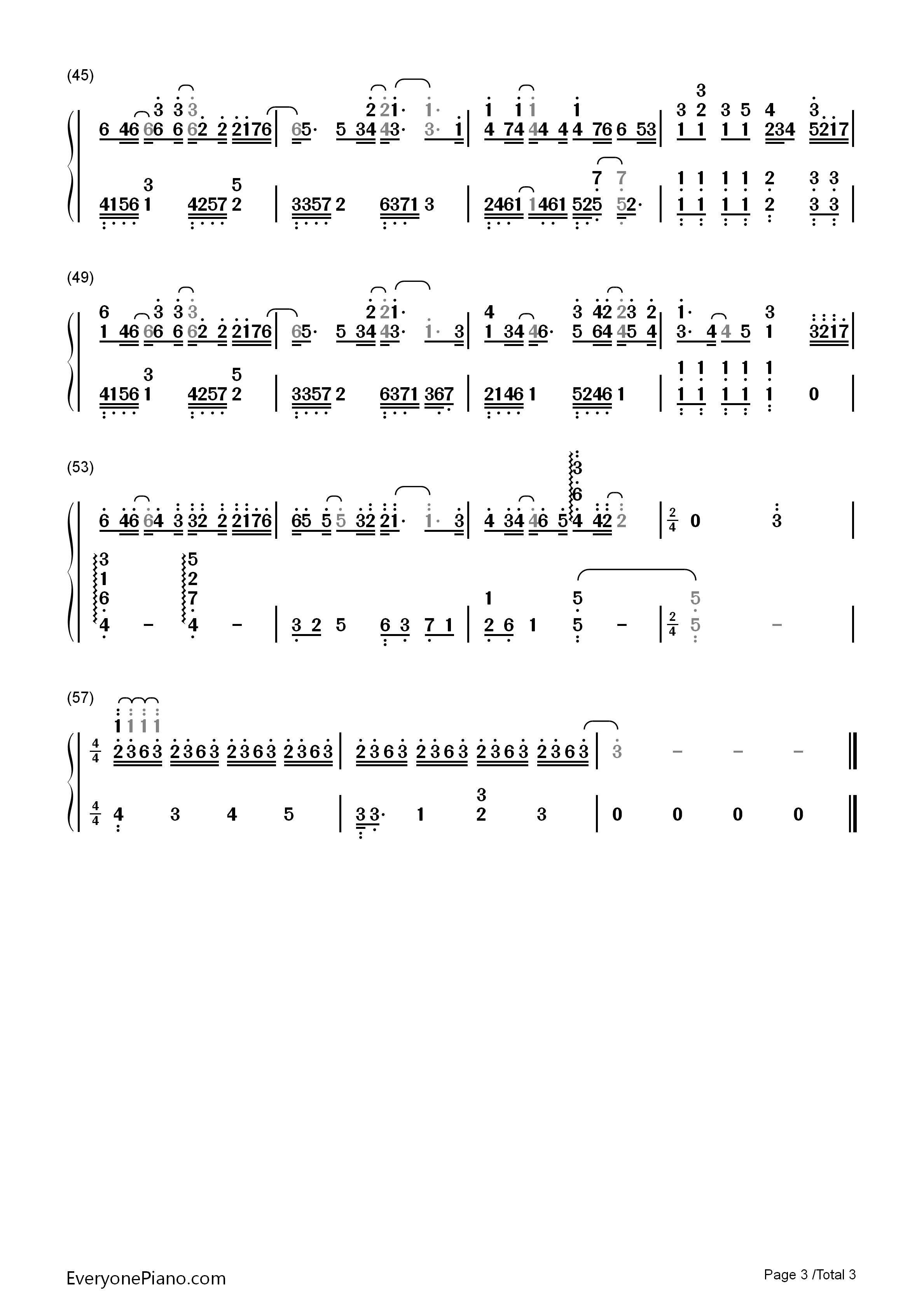刚刚好-薛之谦双手简谱预览3-钢琴谱档(五线谱,双手