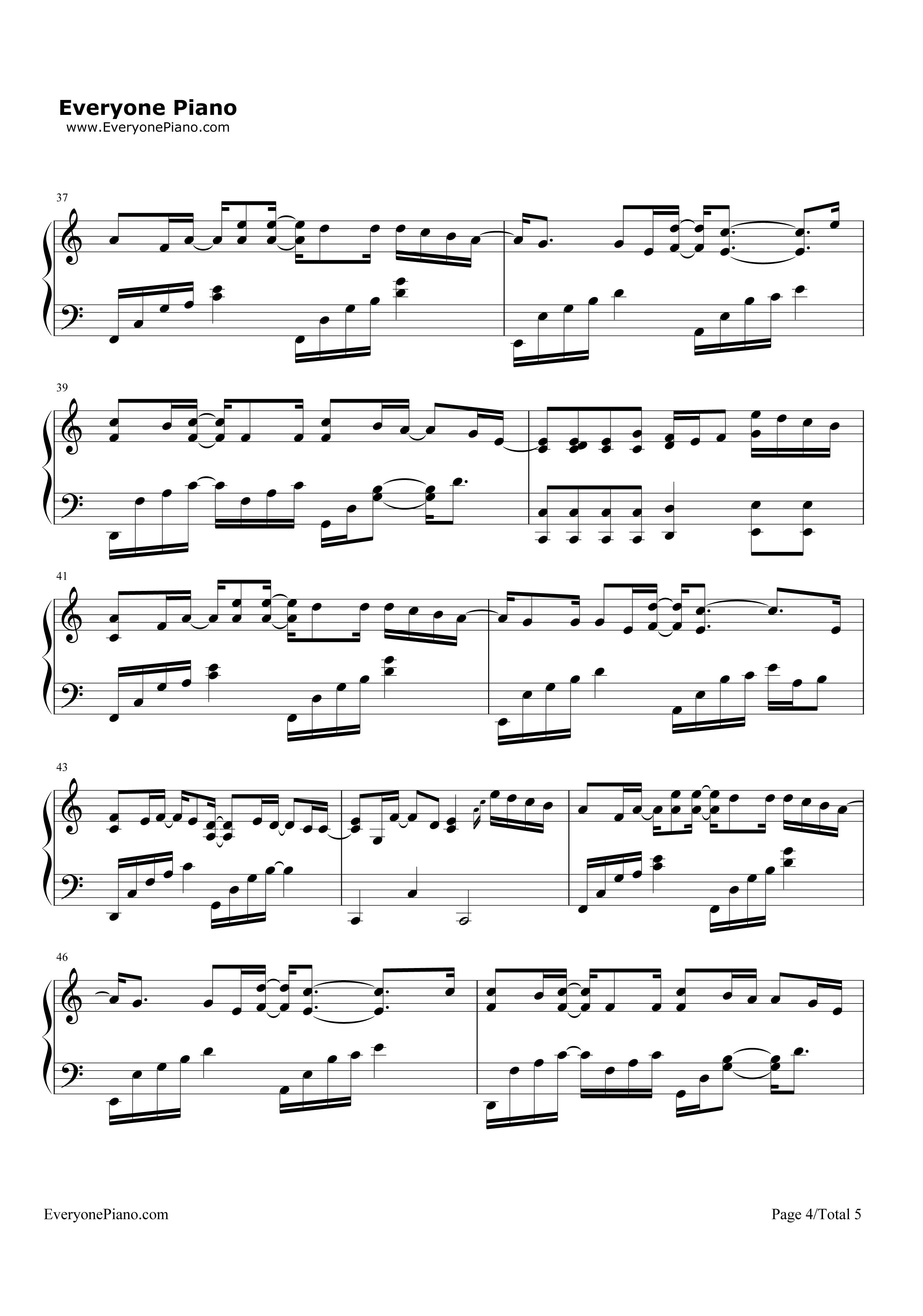 刚刚好-薛之谦五线谱预览4-钢琴谱档(五线谱,双手简谱