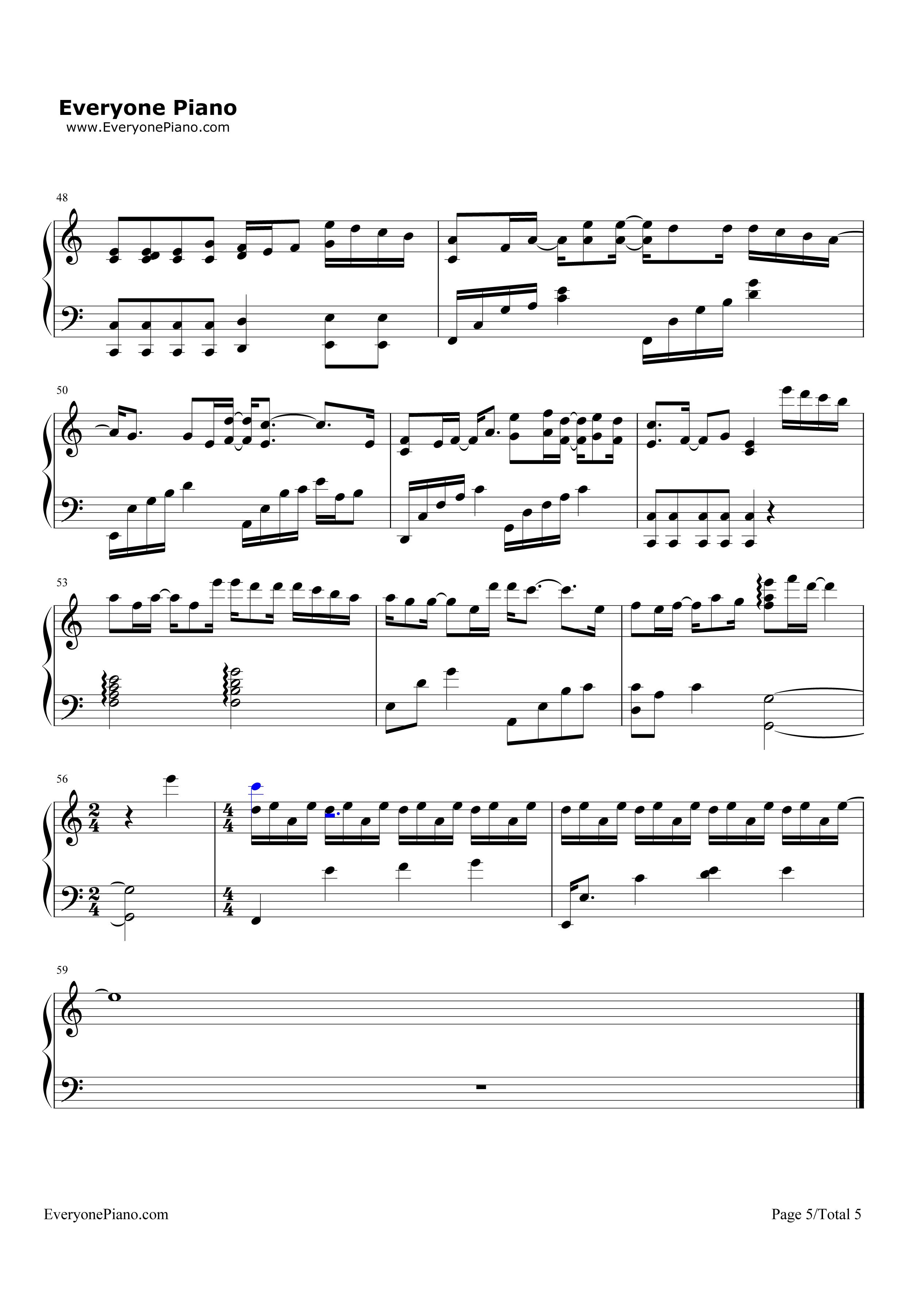 刚刚好-薛之谦五线谱预览5-钢琴谱档(五线谱,双手简谱