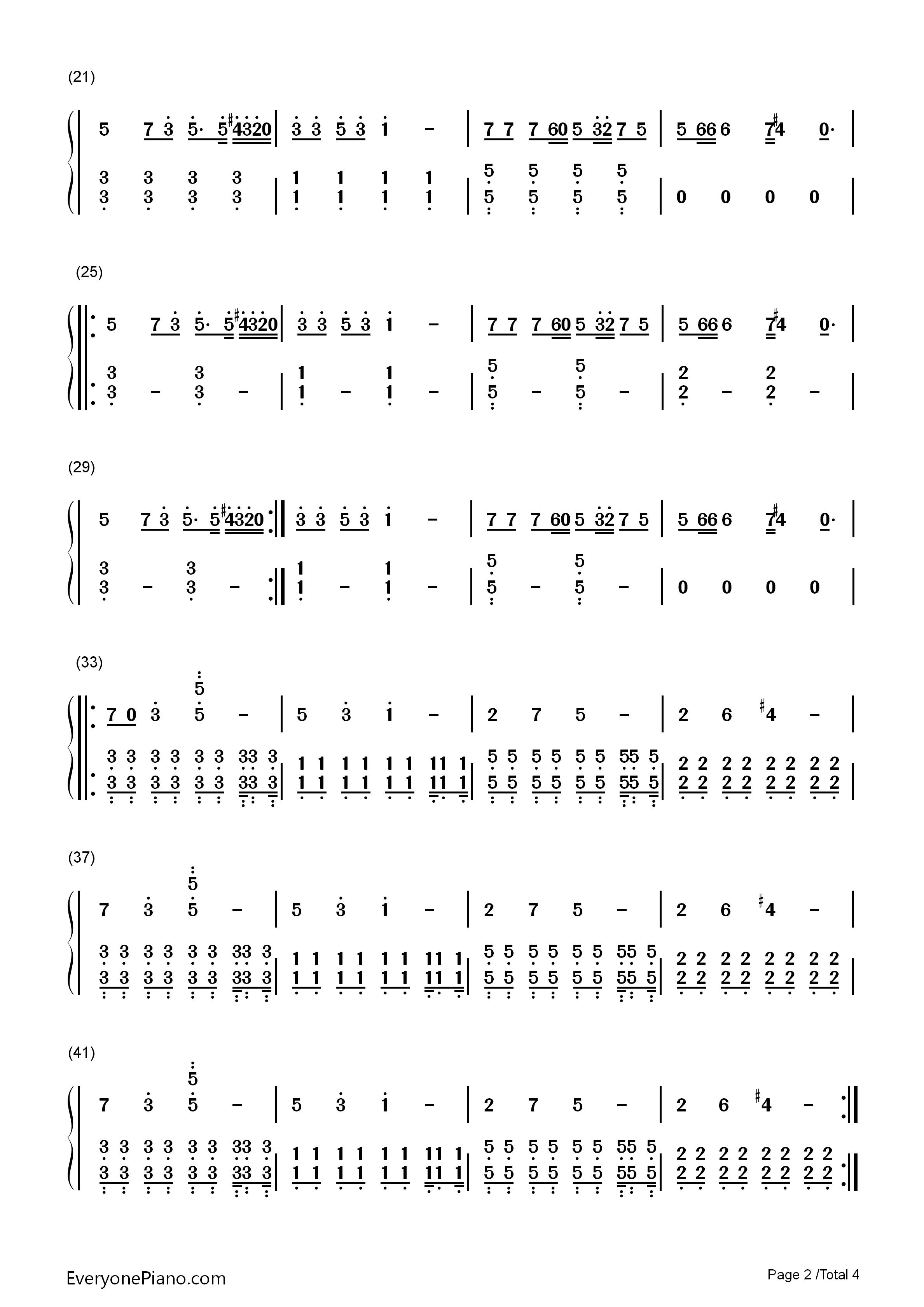 spectre-alan walker双手简谱预览2