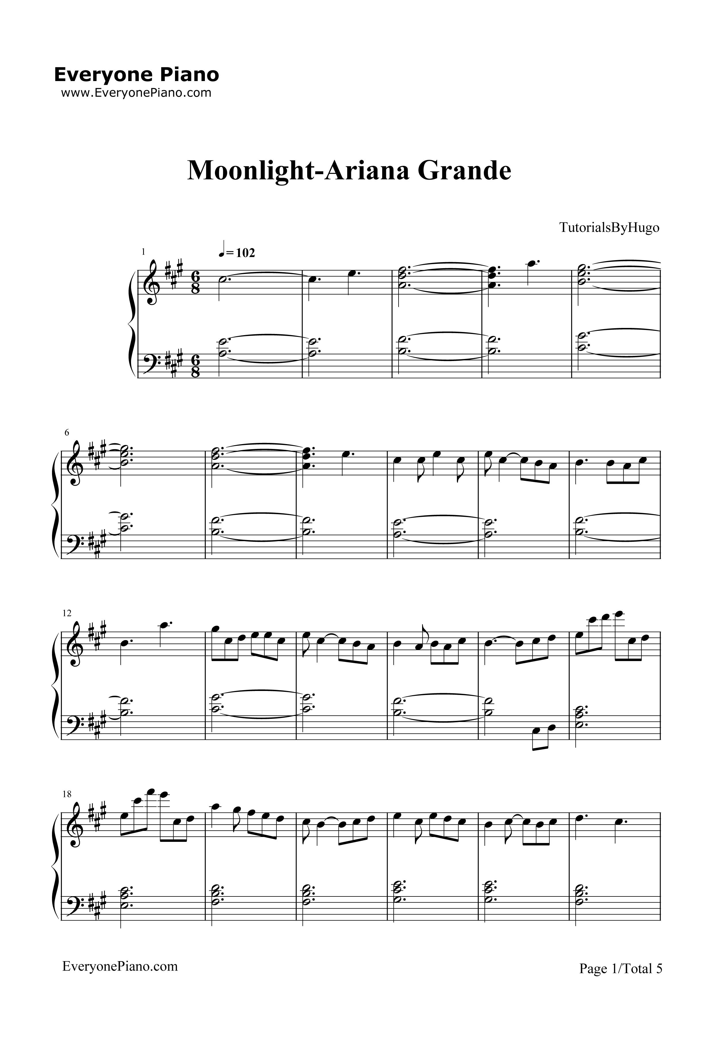 moonlight-ariana grande五线谱预览1-钢琴谱档(,双手