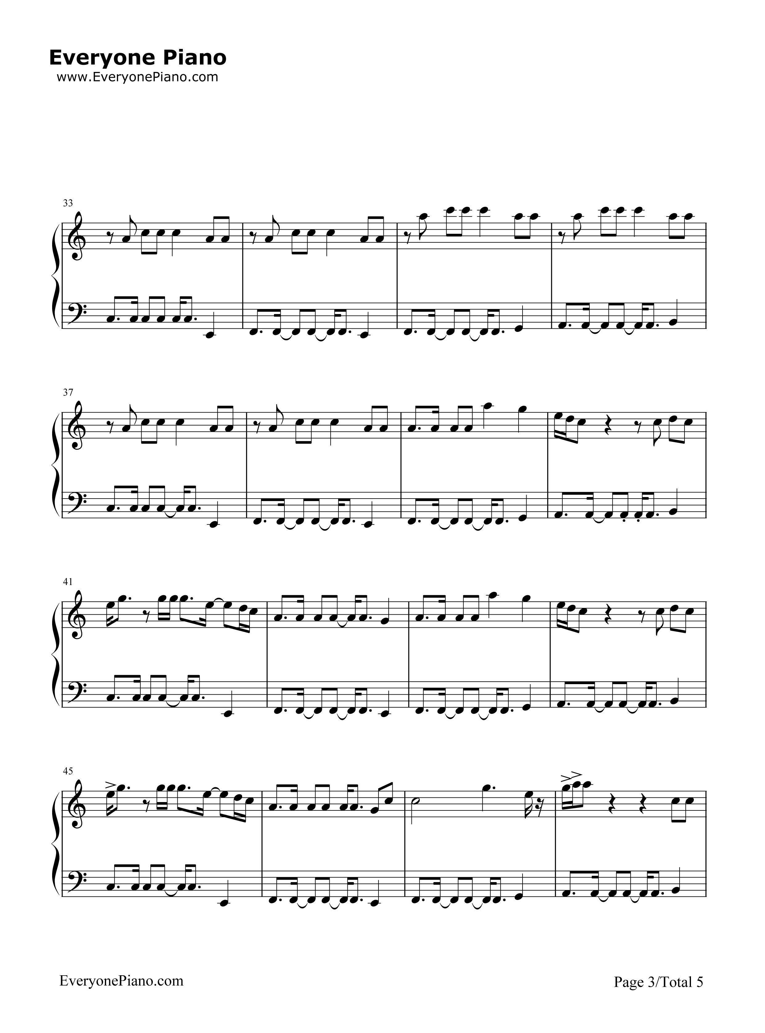 One s for You David Guetta五线谱预览3 钢琴谱档 五线谱 双手简谱