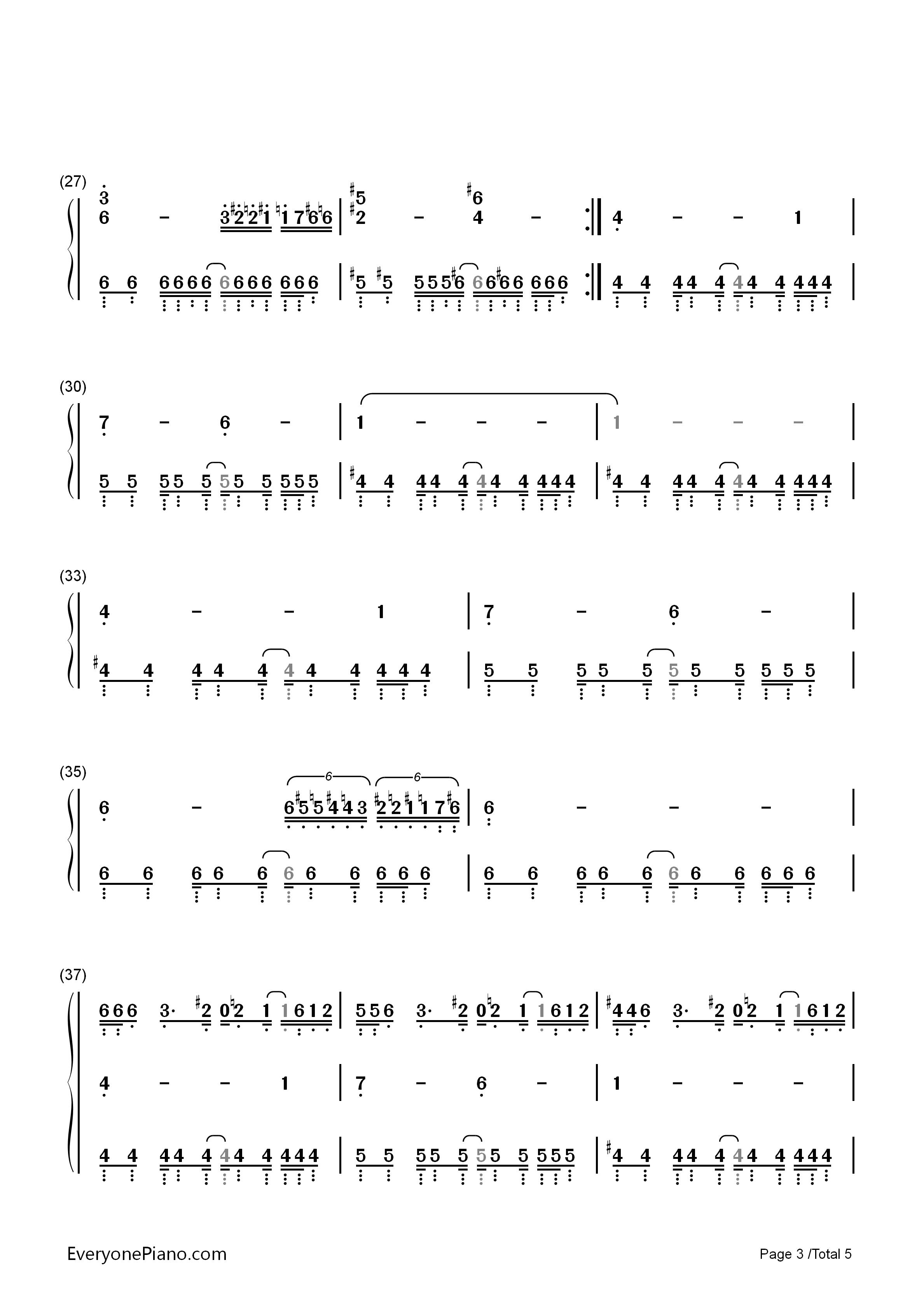 咏叹调钢琴曲三级曲谱-手简谱预览3 钢琴谱档 五线谱 双手简谱 数位谱 Midi PDF 免费下载