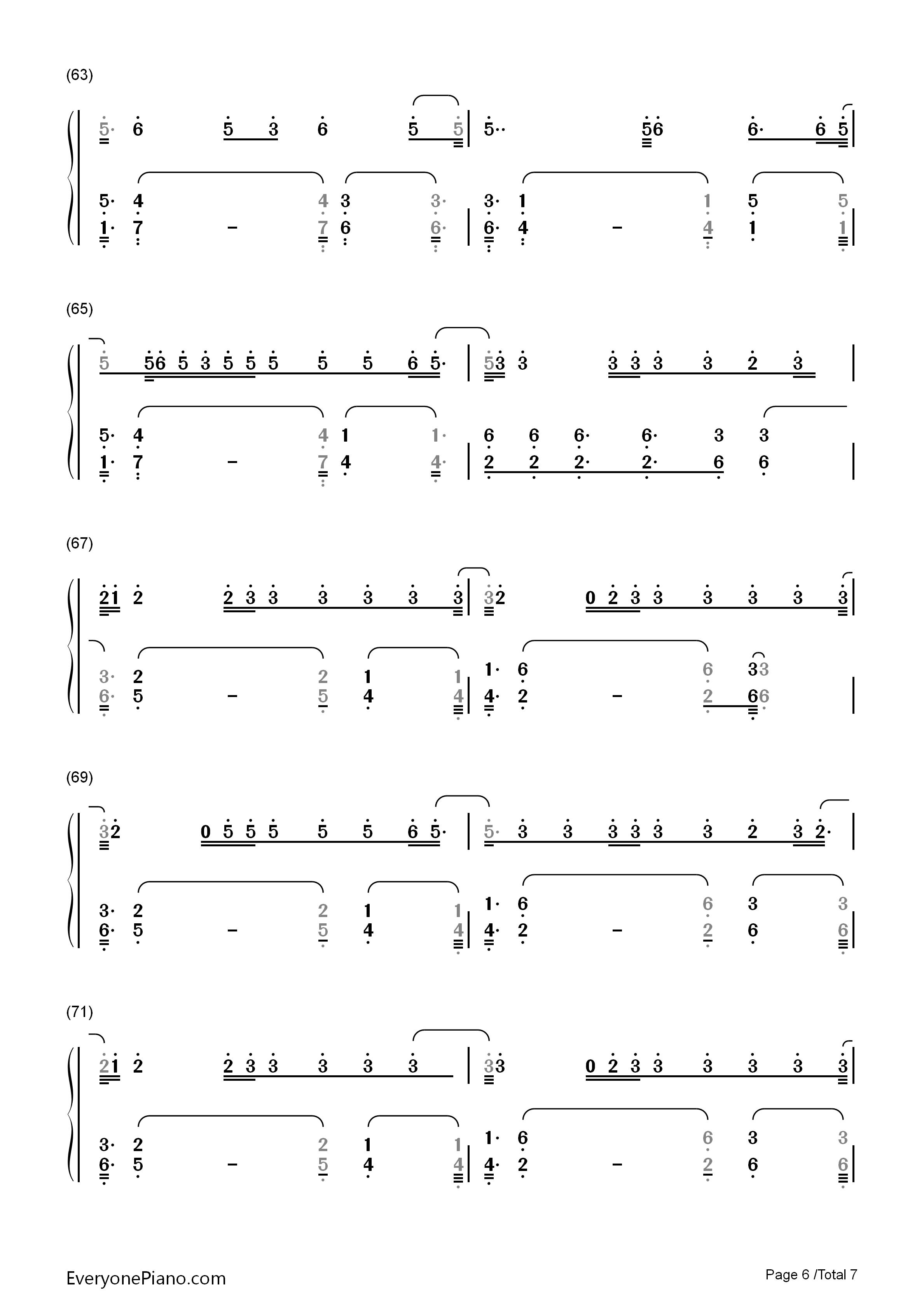6 钢琴谱档 五线谱 双手简谱 数位谱 Midi PDF 免费下载