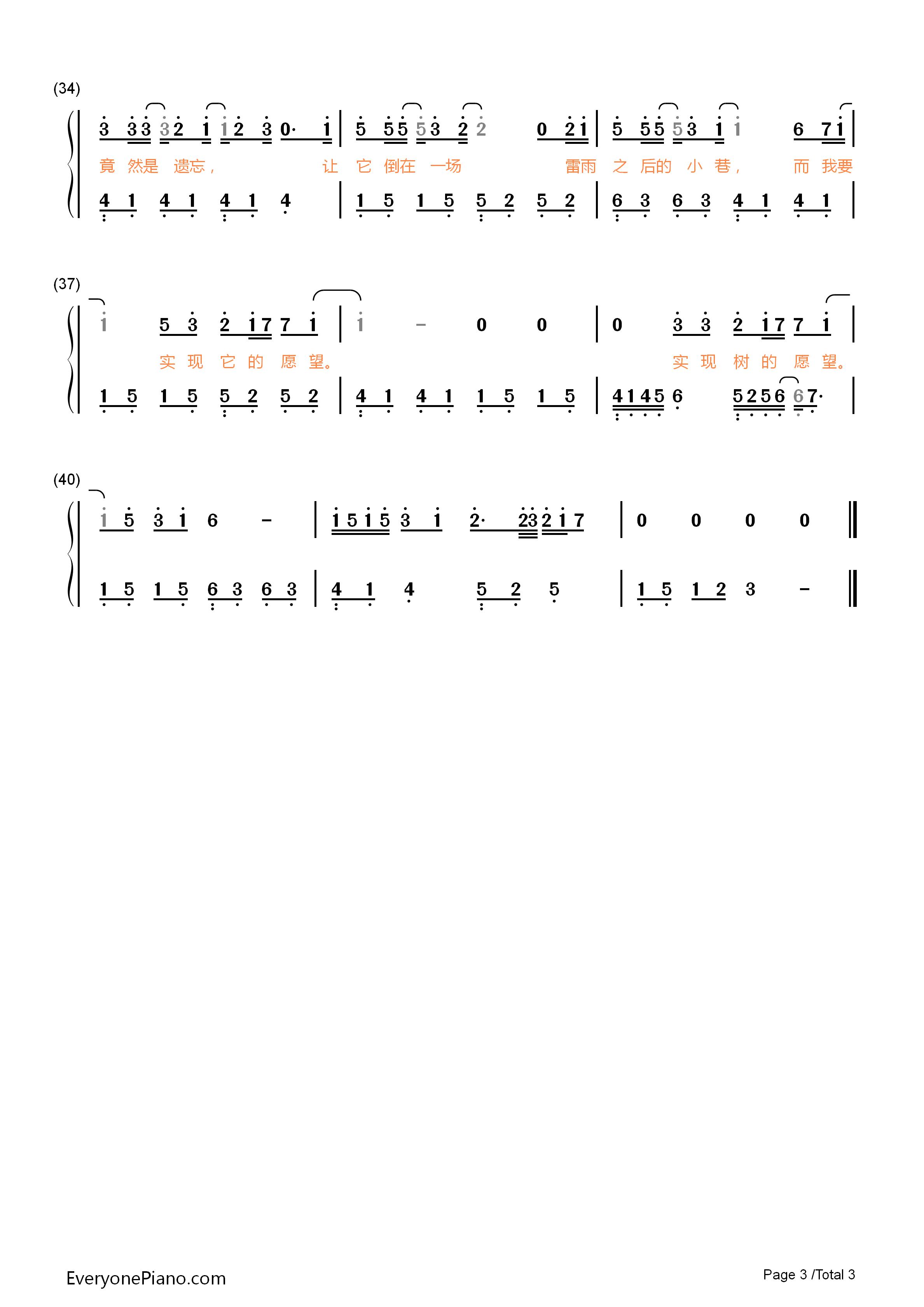 钢琴曲谱 流行 树读-王俊凯 树读-王俊凯双手简谱预览3