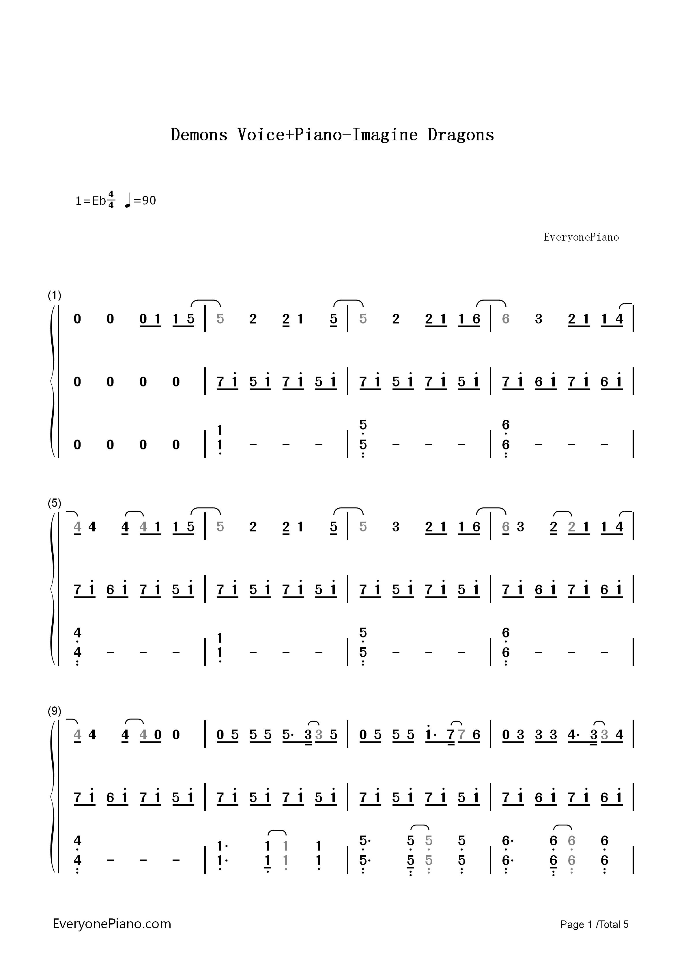 钢琴曲谱 流行 demons 弹唱版-imagine dra