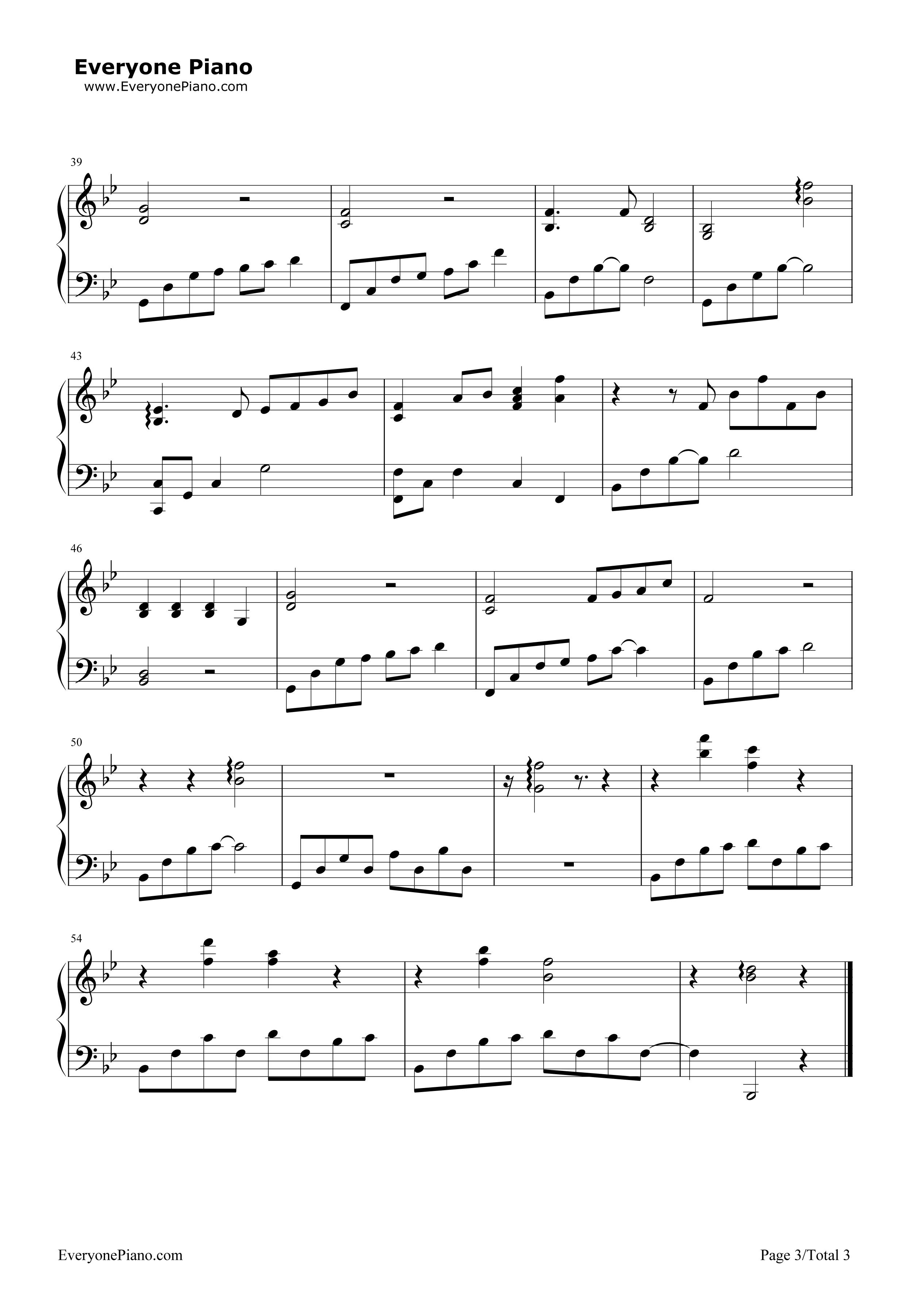 下雨了-薛之谦五线谱预览3-钢琴谱档(五线谱,双手简谱