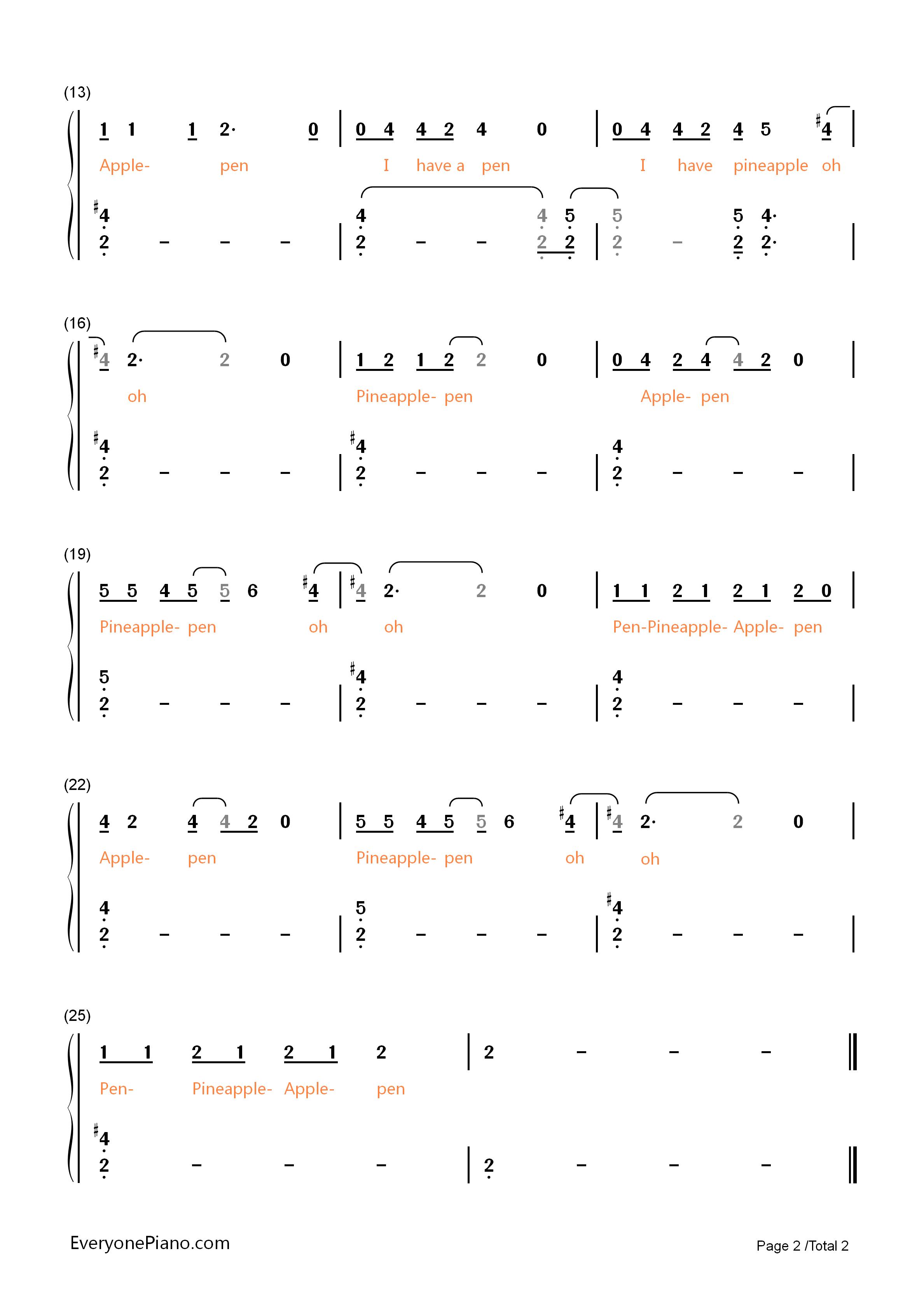 钢琴曲谱 流行 ppap抒情版-kbshinya ppap抒情版-kbshinya双手简谱