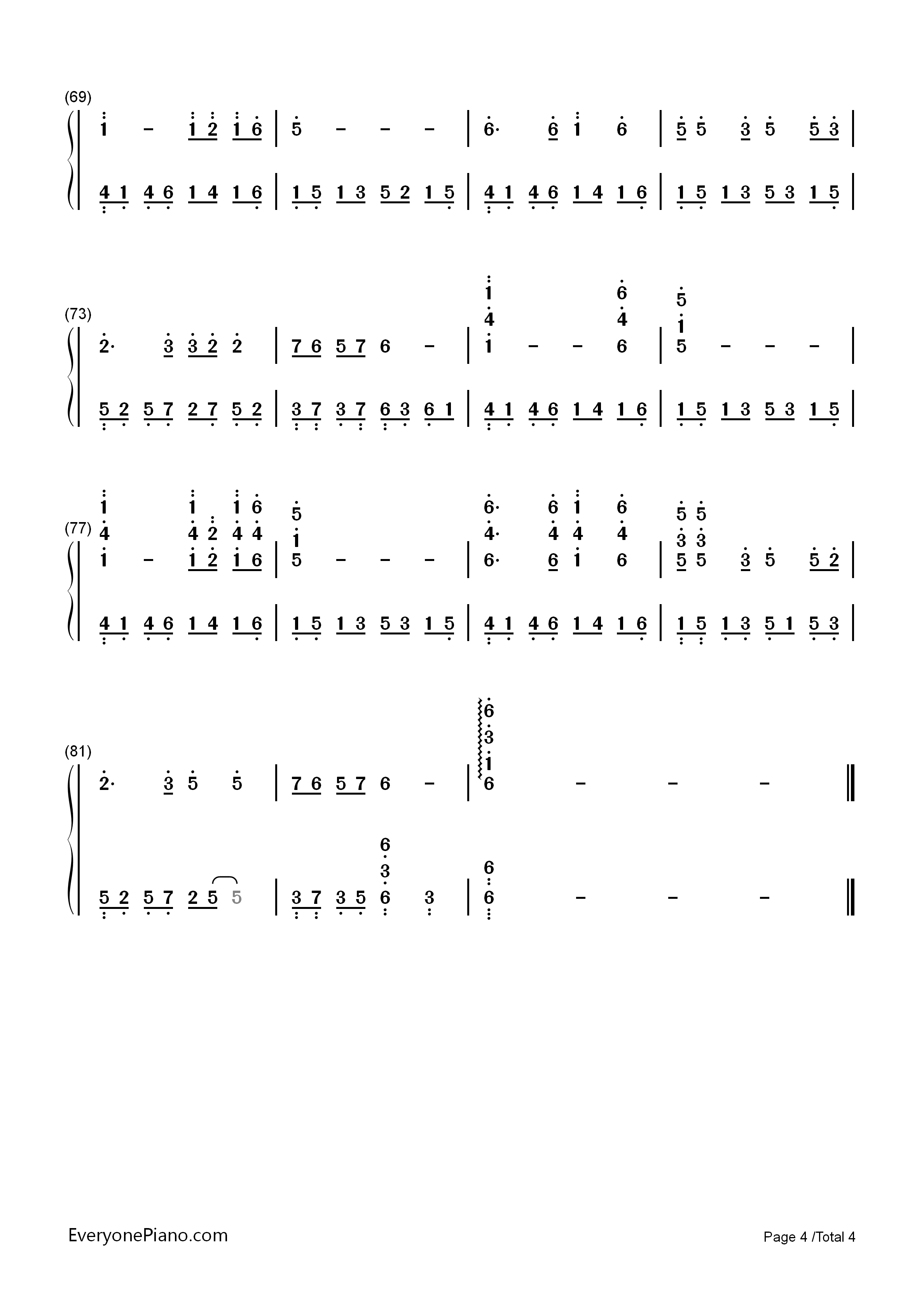 鲁冰花-完整版双手简谱预览4-钢琴谱档(五线谱,双手