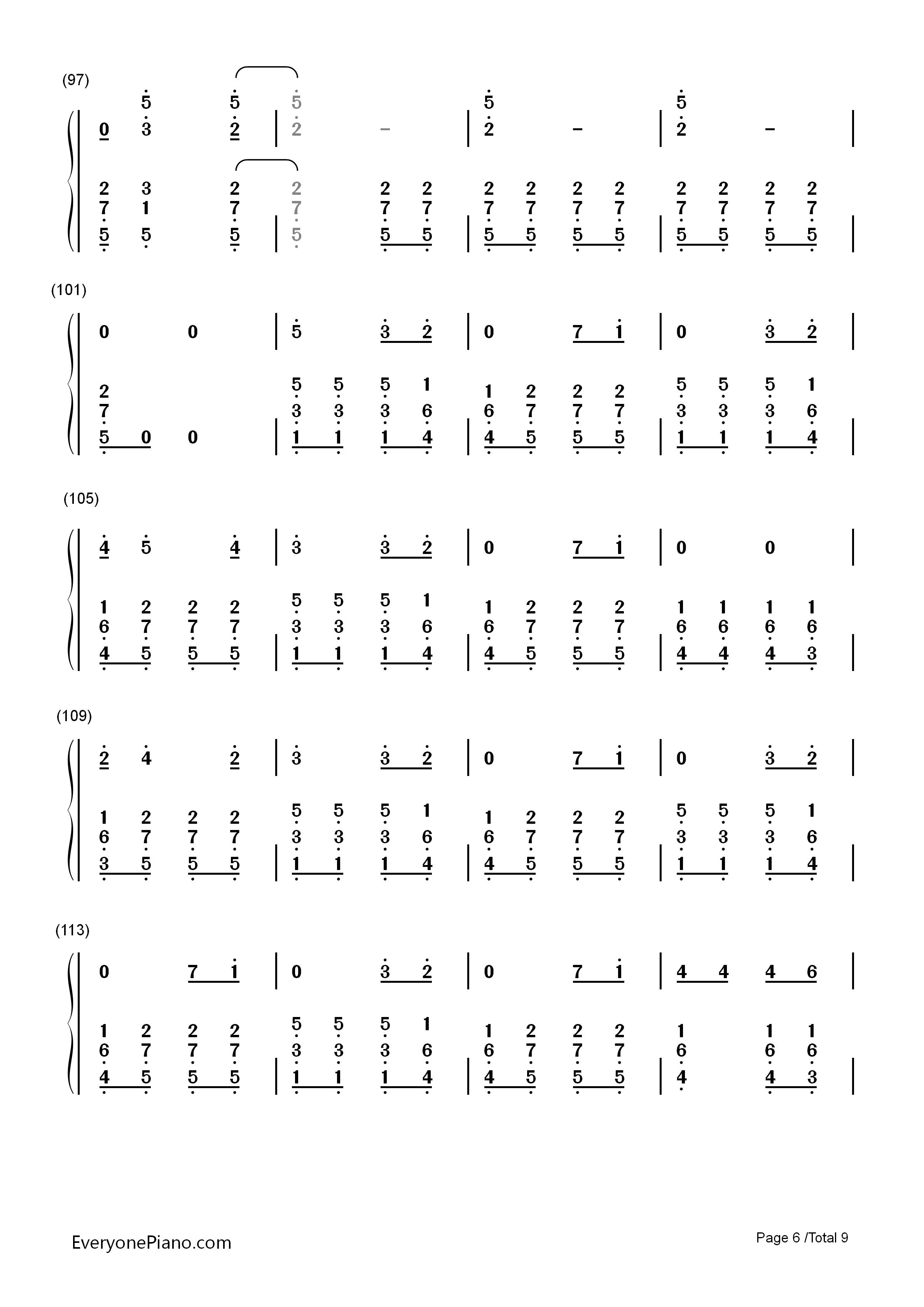n Day双手简谱预览6 钢琴谱档 五线谱 双手简谱 数位谱 Midi PDF 免