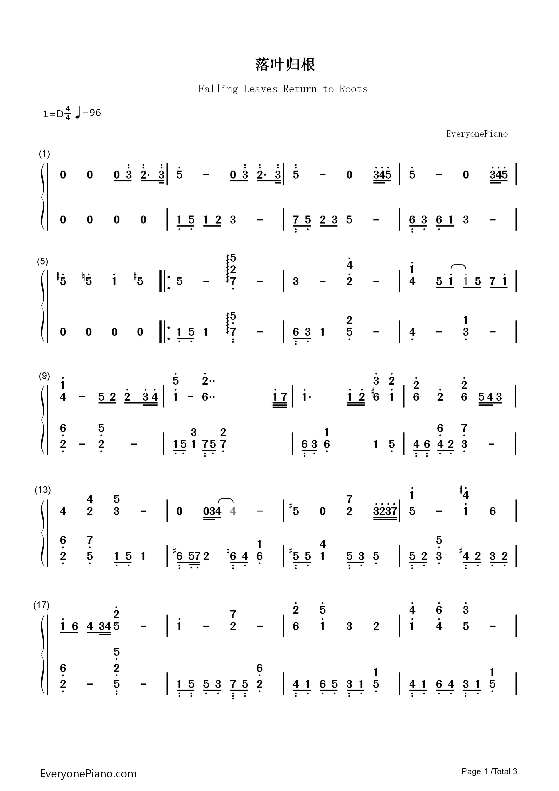 钢琴曲谱 流行 落叶归根(女生版)-王力宏 落叶归根(女生版)-王力宏