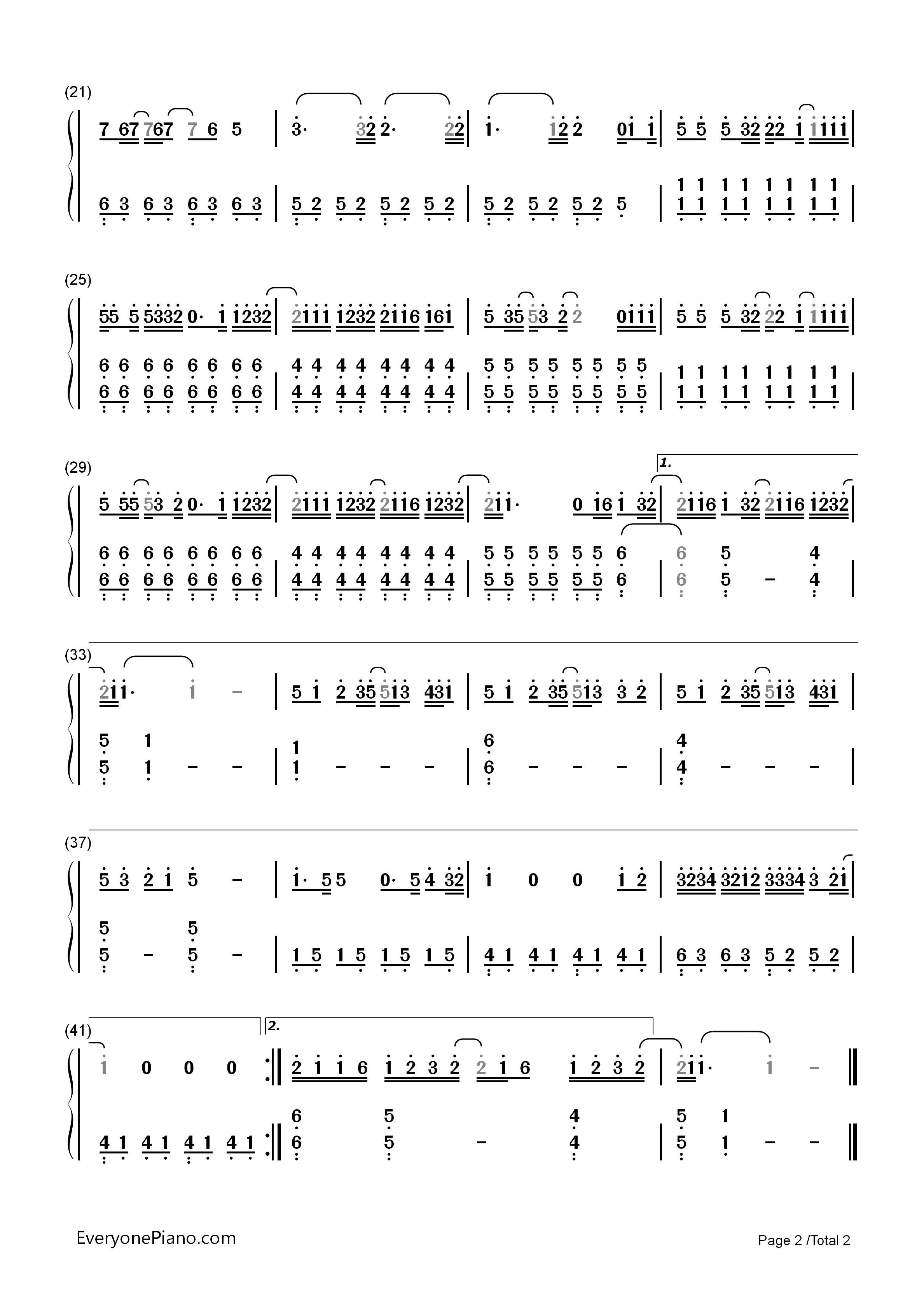 前前前世-电影《你的名字》的主题曲双手简谱预览2