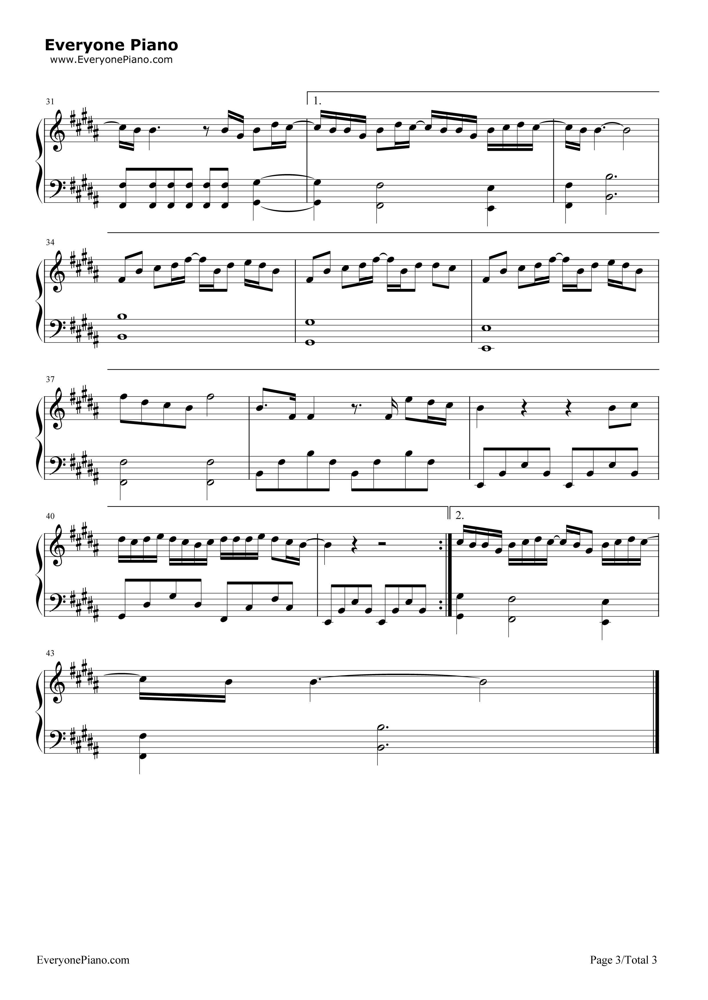 前前前世-电影《你的名字》的主题曲五线谱预览3-钢琴