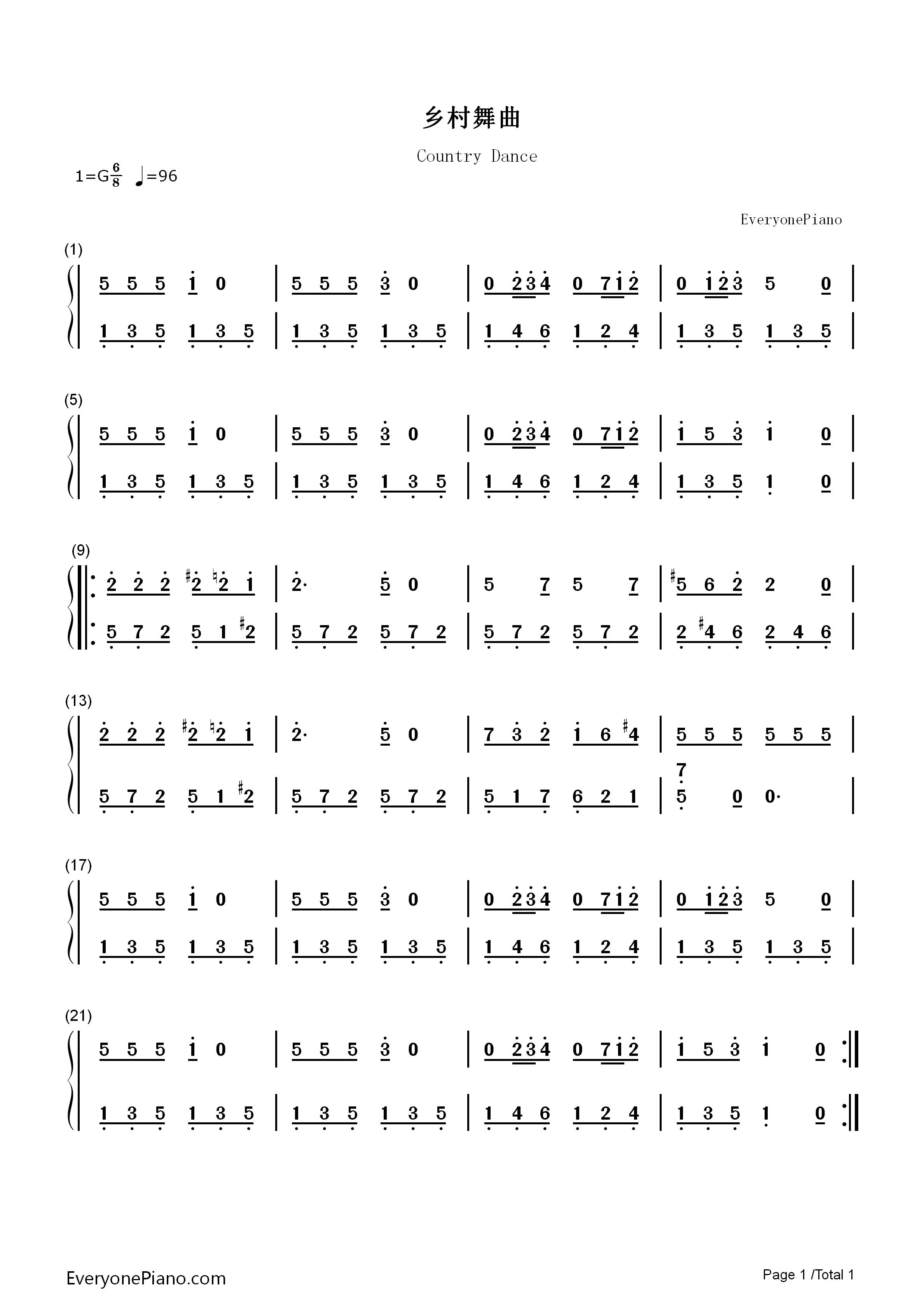 乡村舞曲-世界名曲-莫扎特双手简谱预览1-钢琴谱档图片