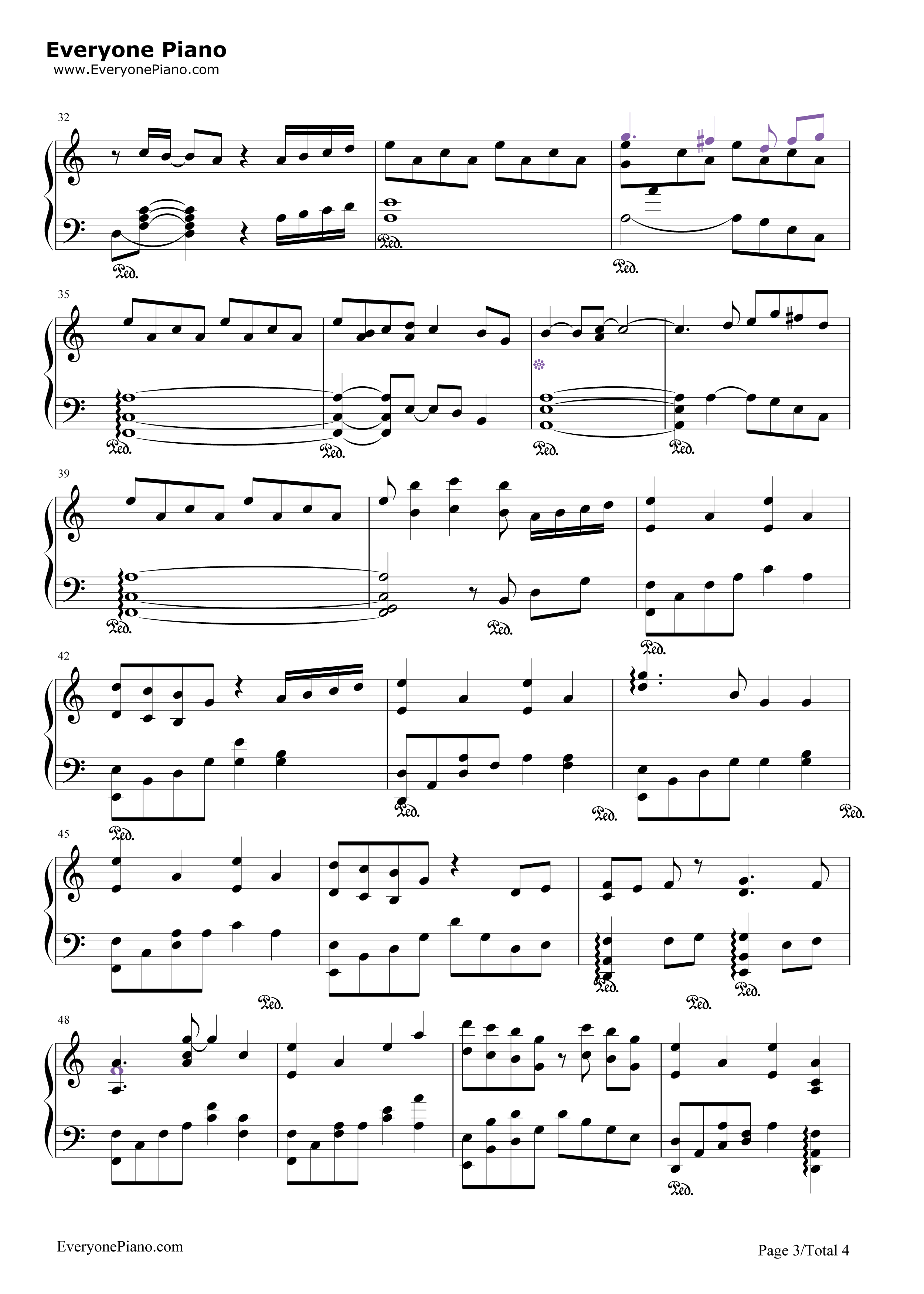 后悔之路-冒险岛maple story bgm五线谱预览3-钢琴谱